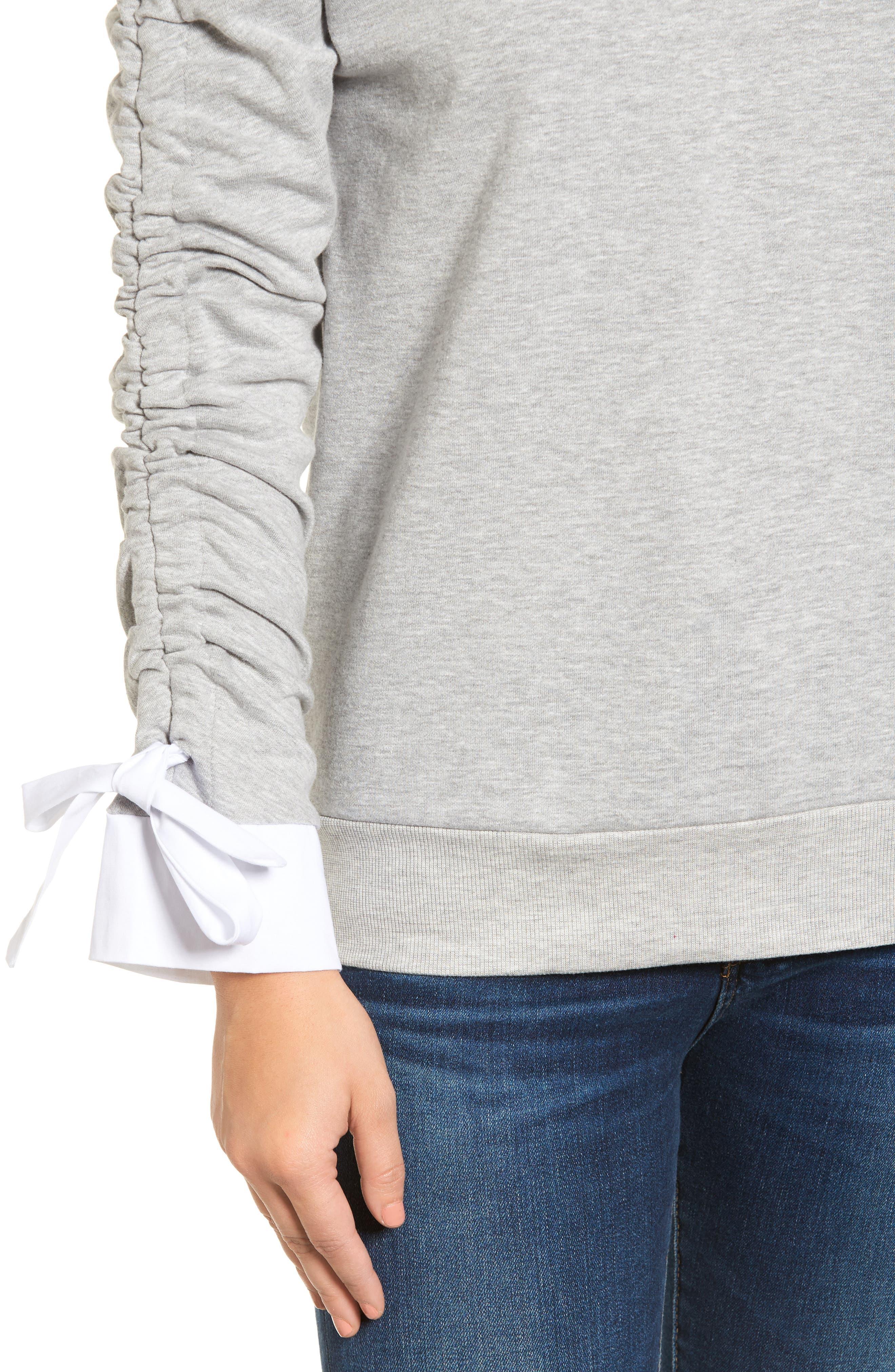 Ruched Sleeve Poplin Trim Sweatshirt,                             Alternate thumbnail 14, color,