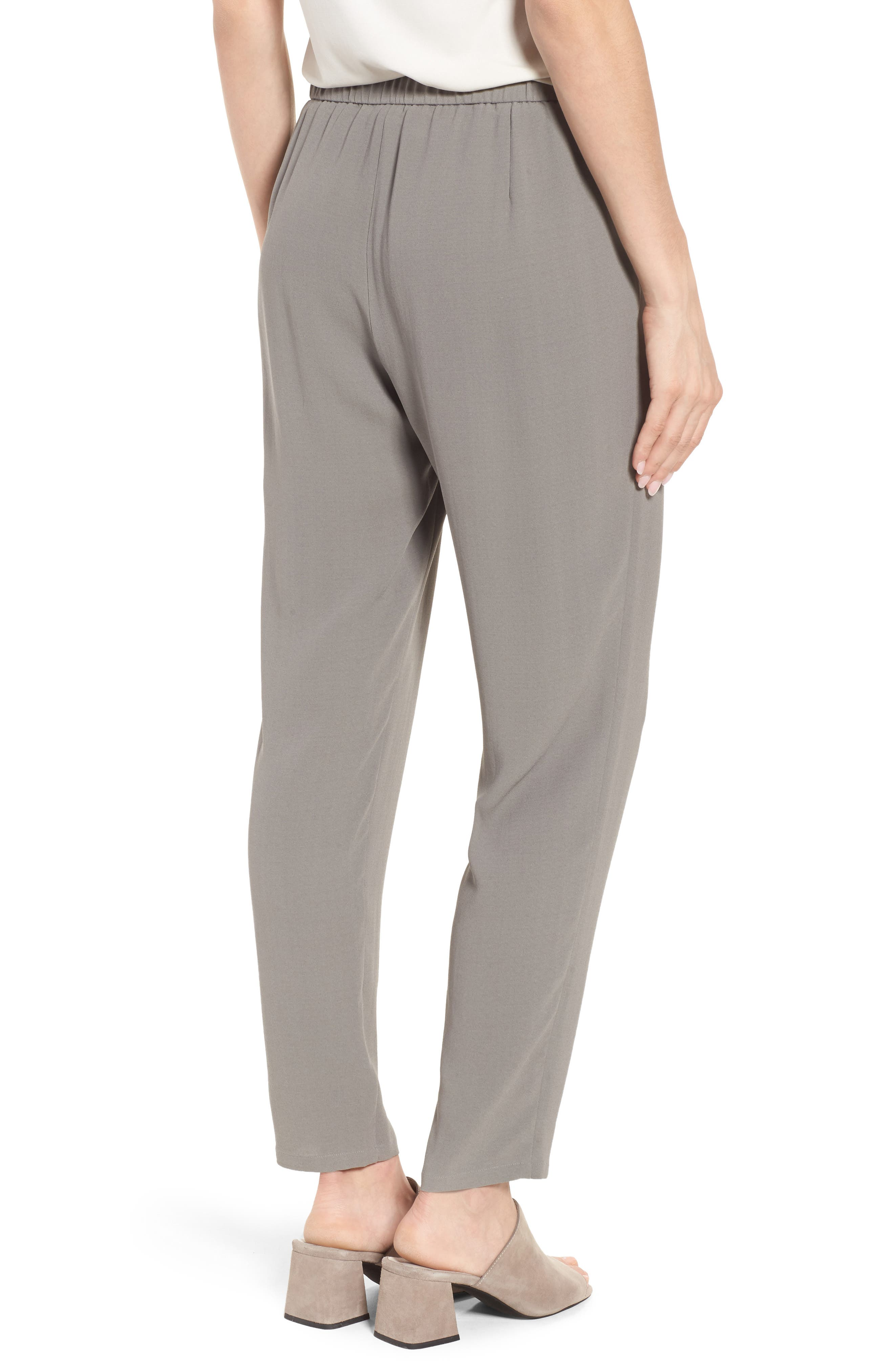 Slouchy Silk Crepe Ankle Pants,                             Alternate thumbnail 12, color,