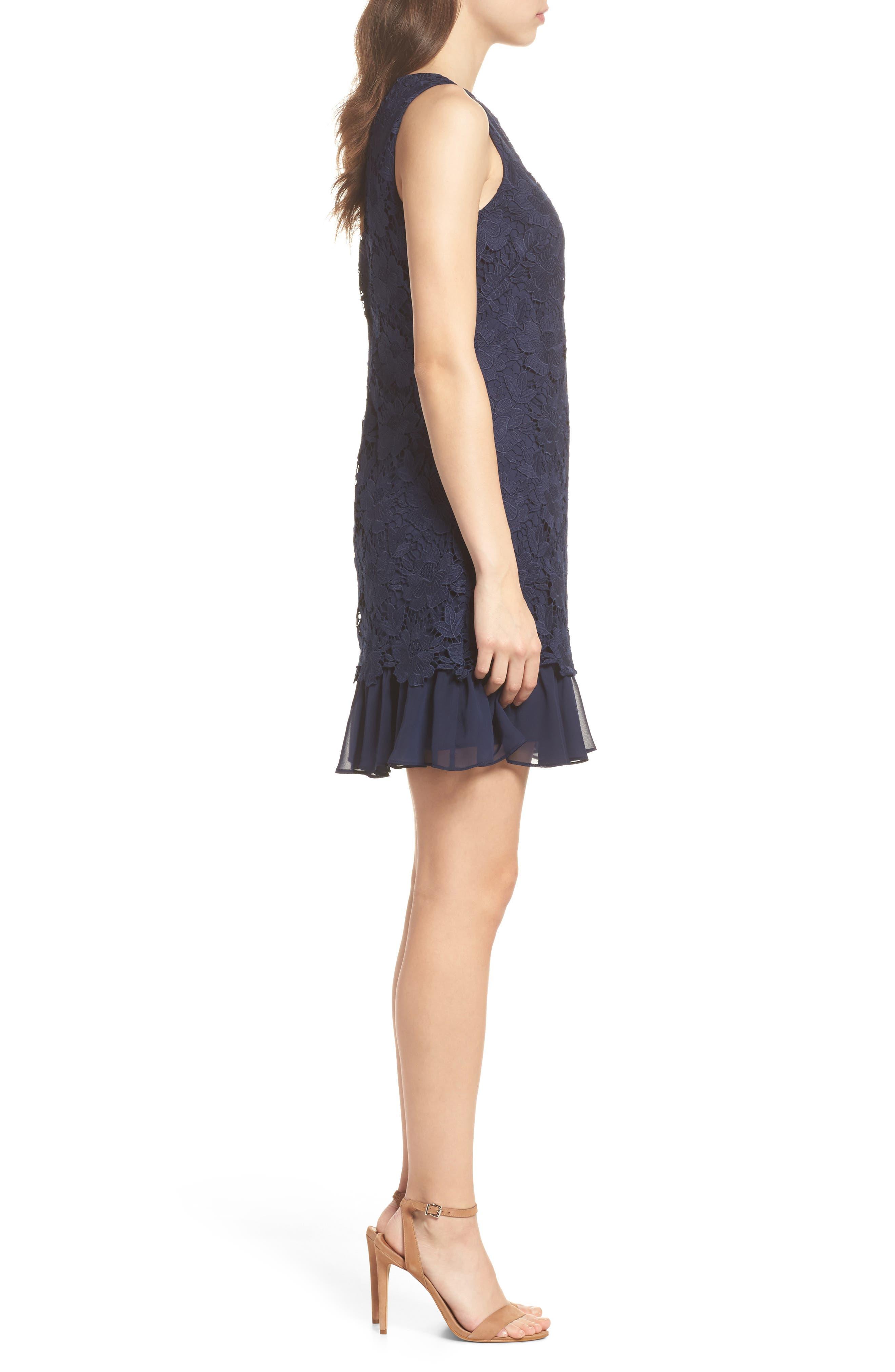 Lace Ruffle Hem Sheath Dress,                             Alternate thumbnail 5, color,
