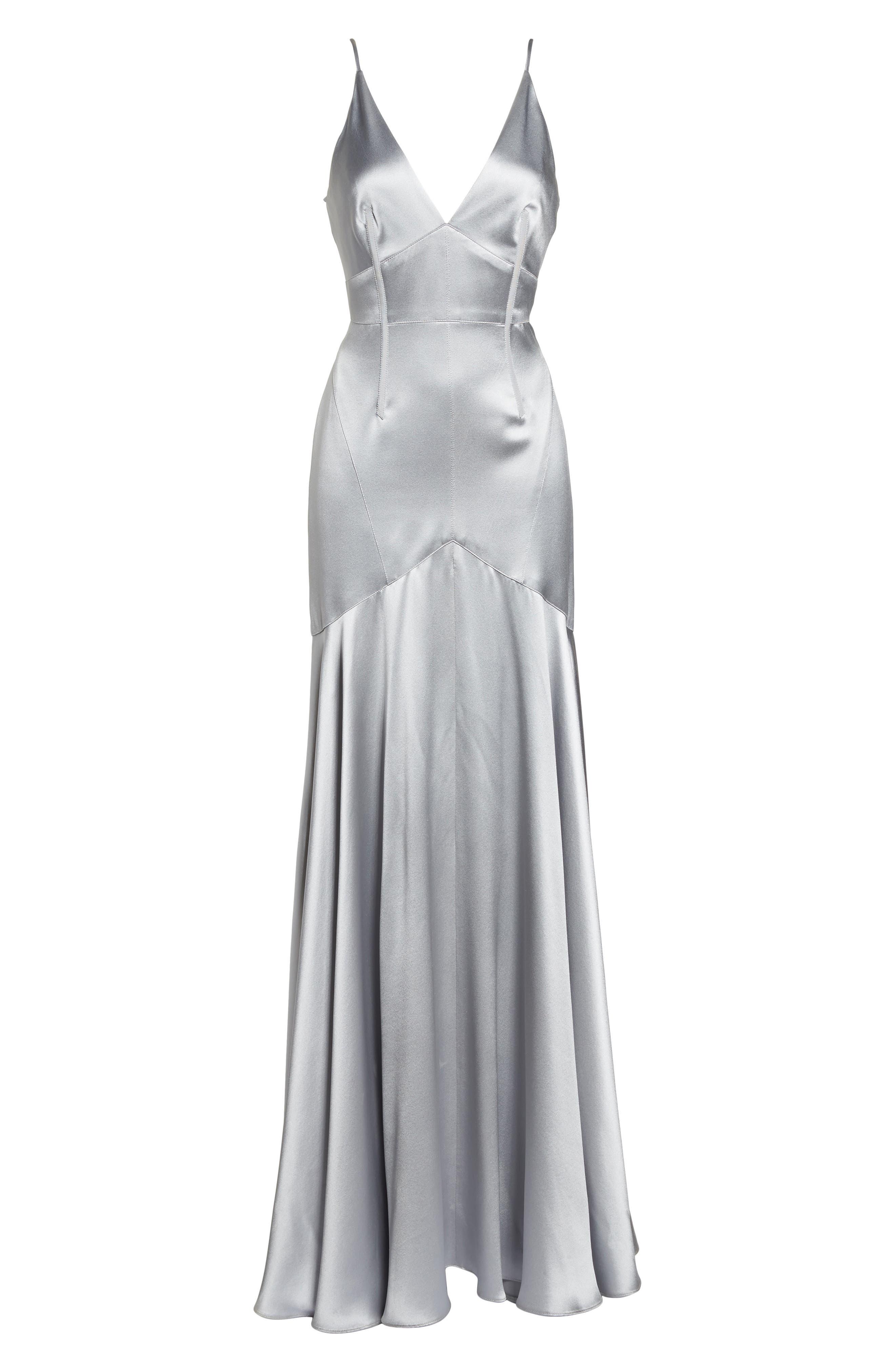 Corset Detail Satin Gown,                             Alternate thumbnail 6, color,                             MERCURY