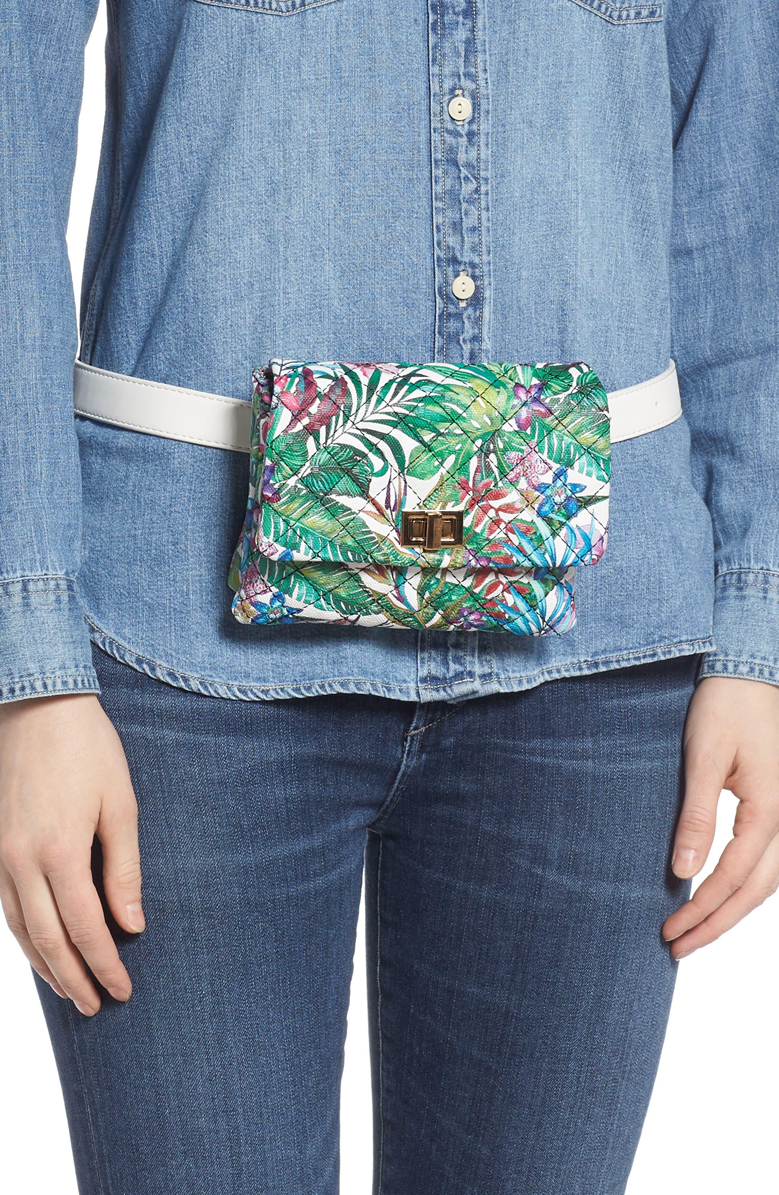 MALI + LILI,                             Quilted Vegan Leather Belt Bag,                             Alternate thumbnail 2, color,                             WHITE FLORAL