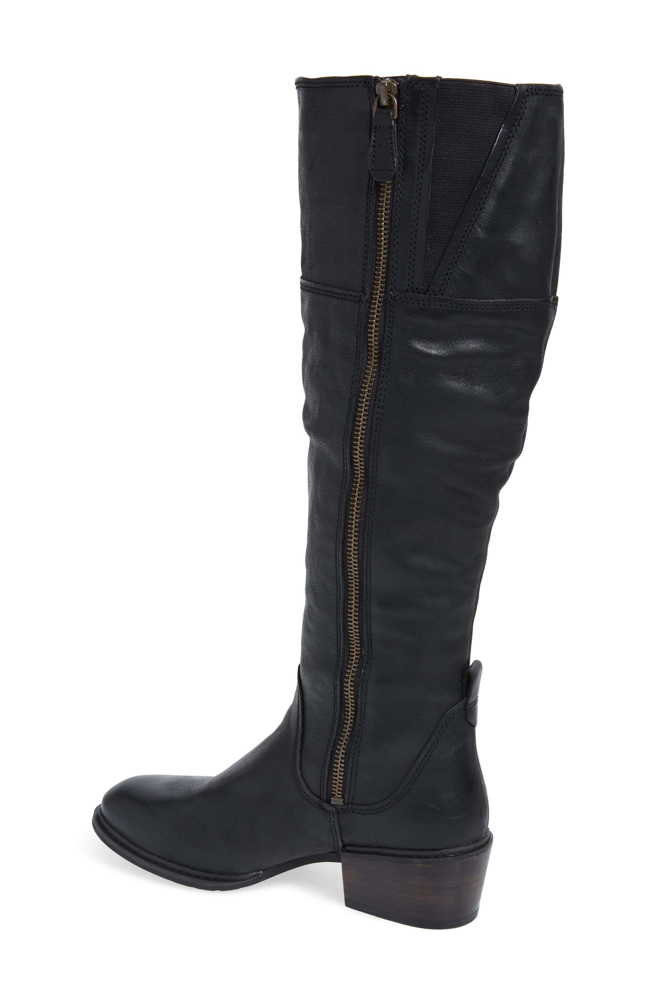 Sutherlin Bay Slouch Knee High Boot,                             Alternate thumbnail 2, color,                             JET BLACK LEATHER
