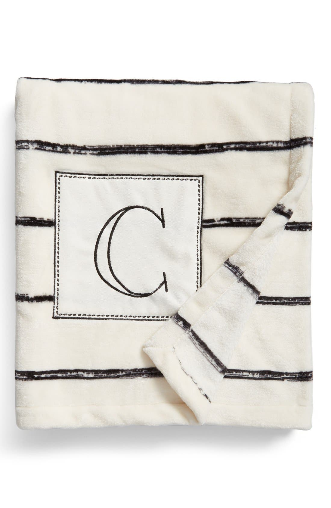 Plush Stripe Monogram Throw Blanket,                         Main,                         color, 001
