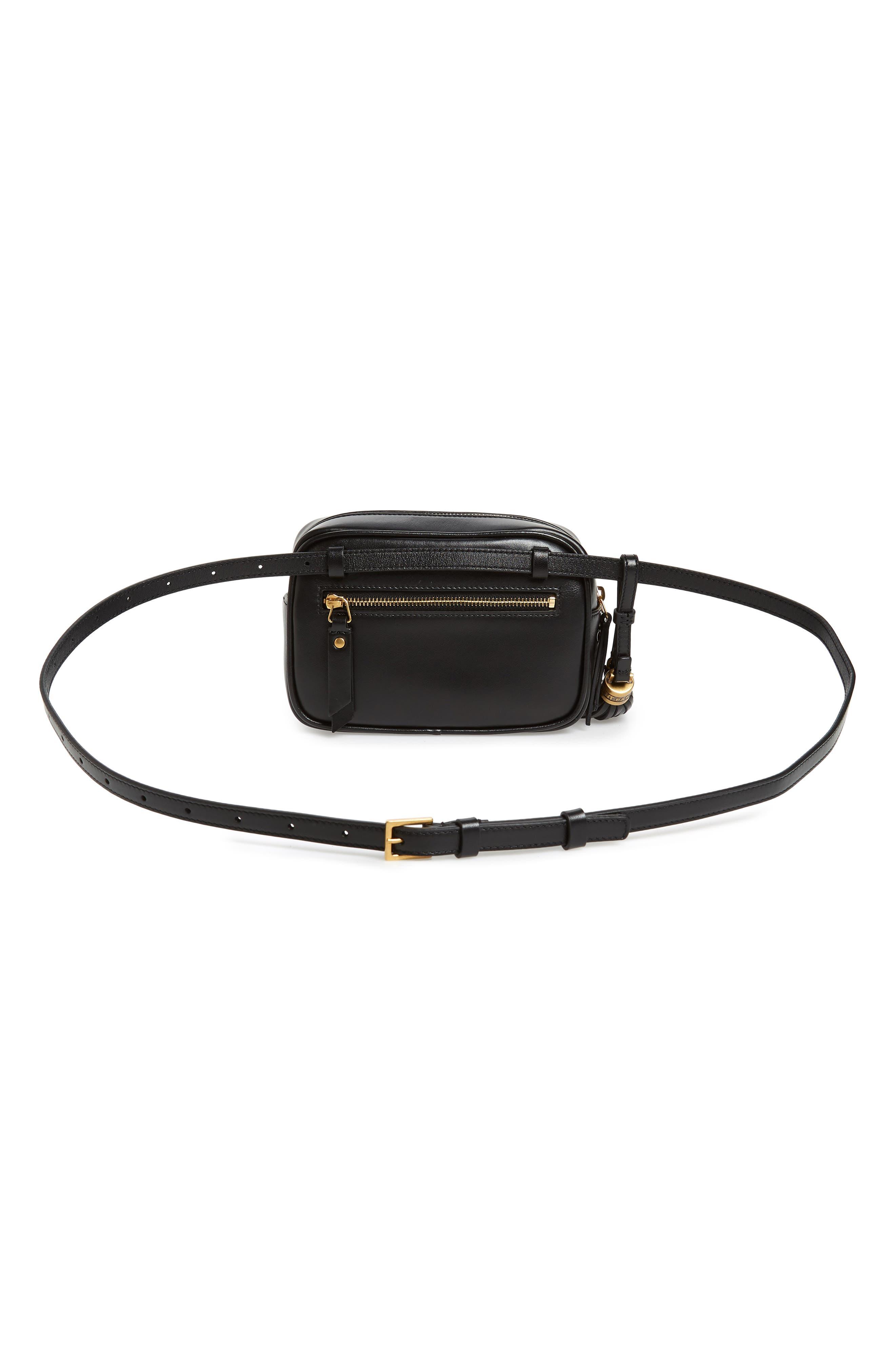 Loulou Matelassé Leather Belt Bag,                             Alternate thumbnail 4, color,                             001