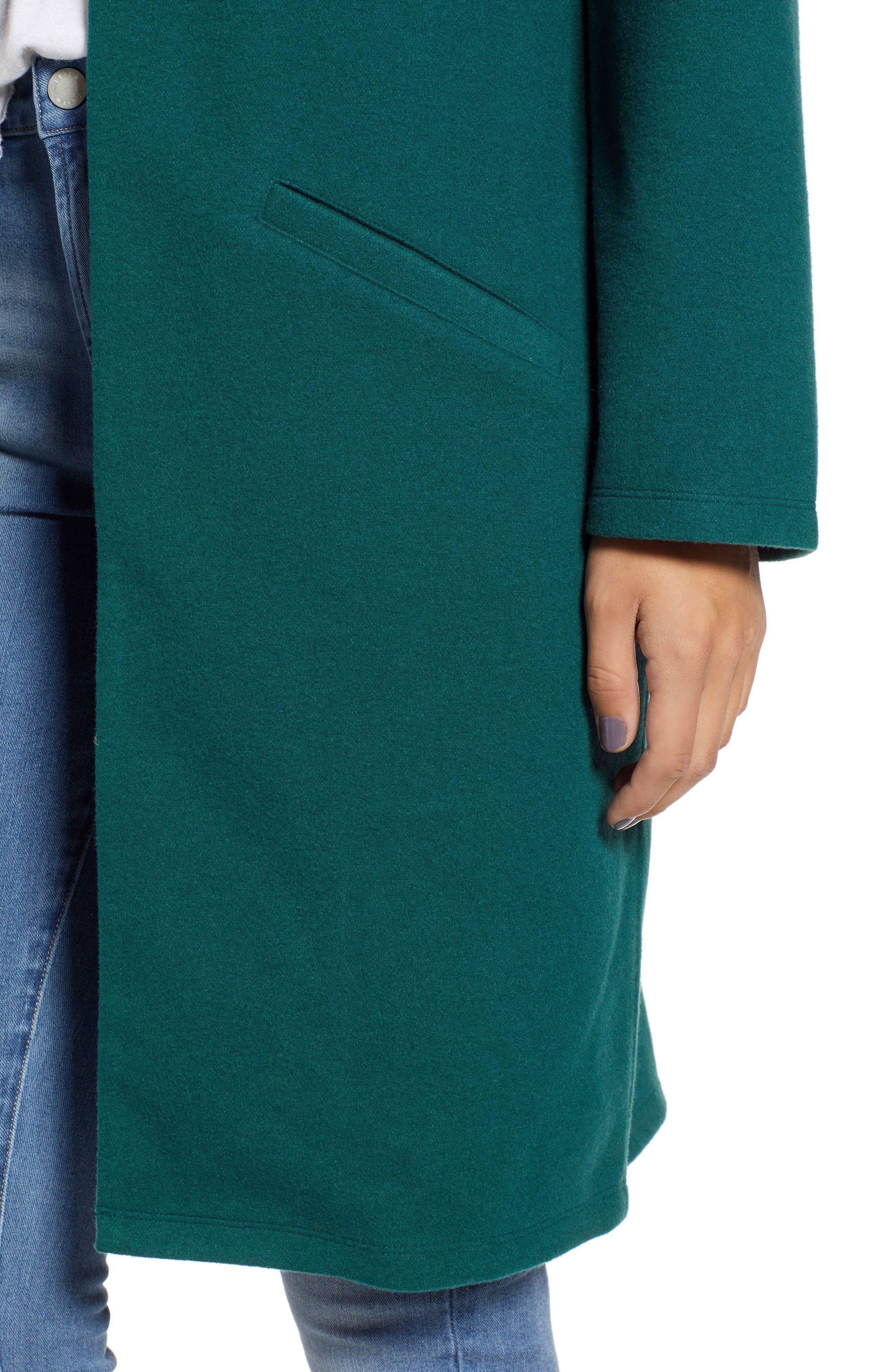 Open Front Midi Coat,                             Alternate thumbnail 4, color,                             GREEN BOTANICAL
