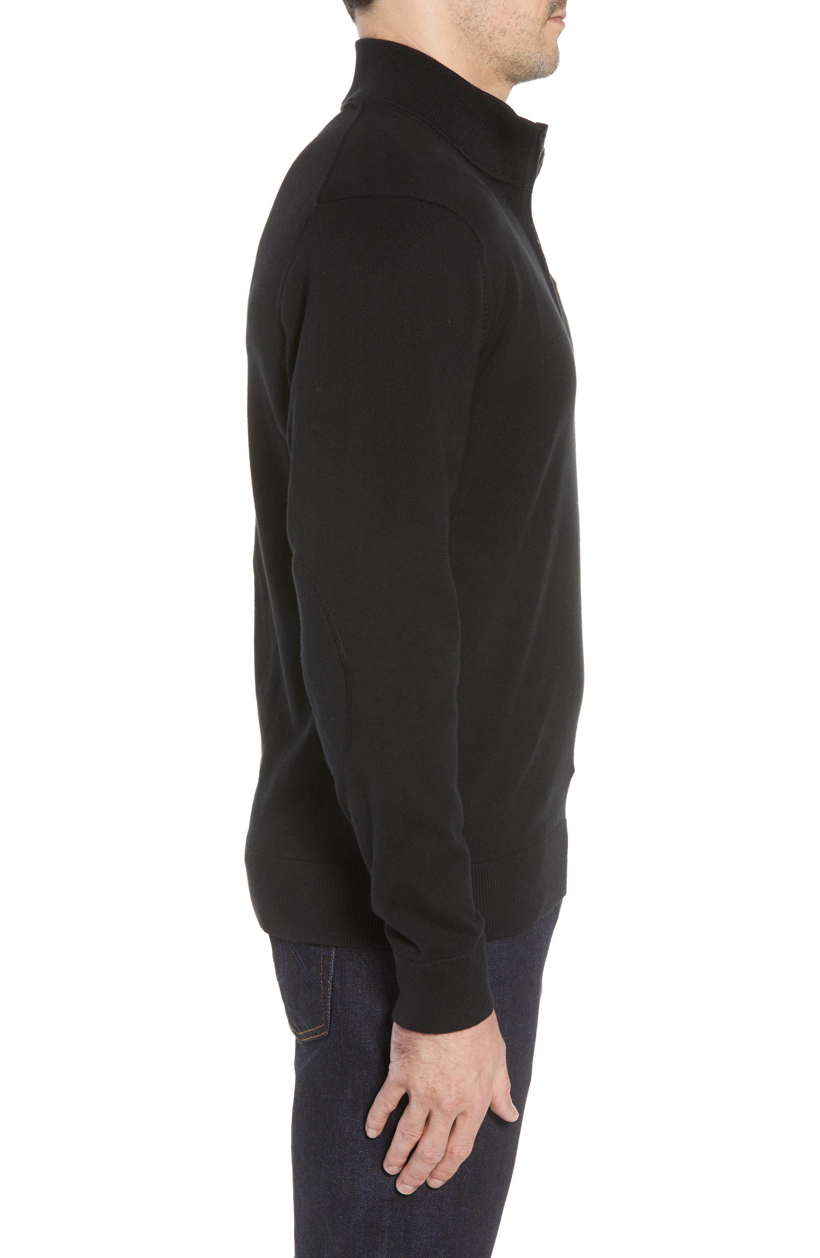 Jacksonville Jaguars - Lakemont Regular Fit Quarter Zip Sweater,                             Alternate thumbnail 3, color,                             BLACK