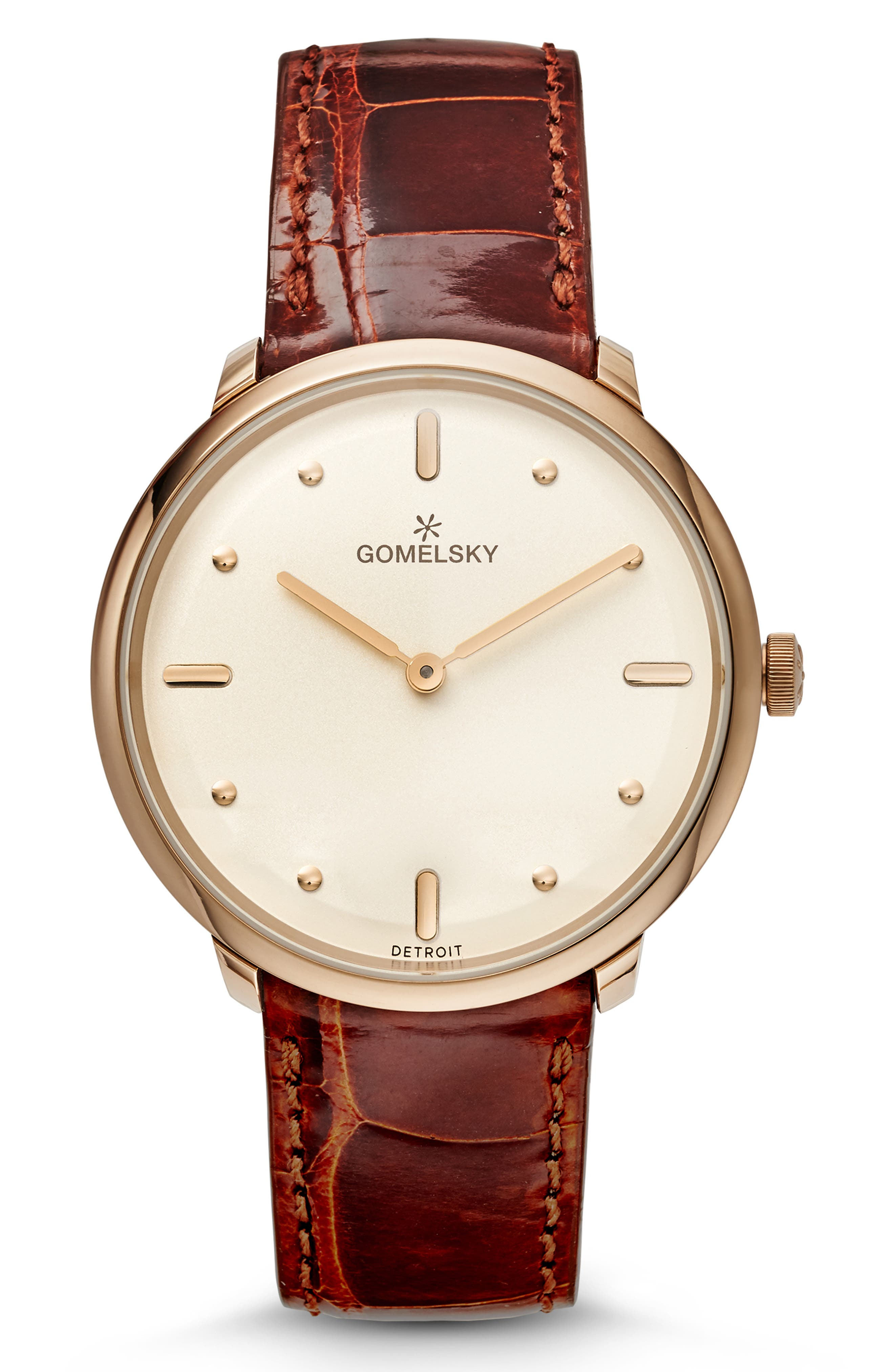 GOMELSKY The Lois Alligator Strap Watch, 36Mm in Chestnut/ Cream/ Champagne