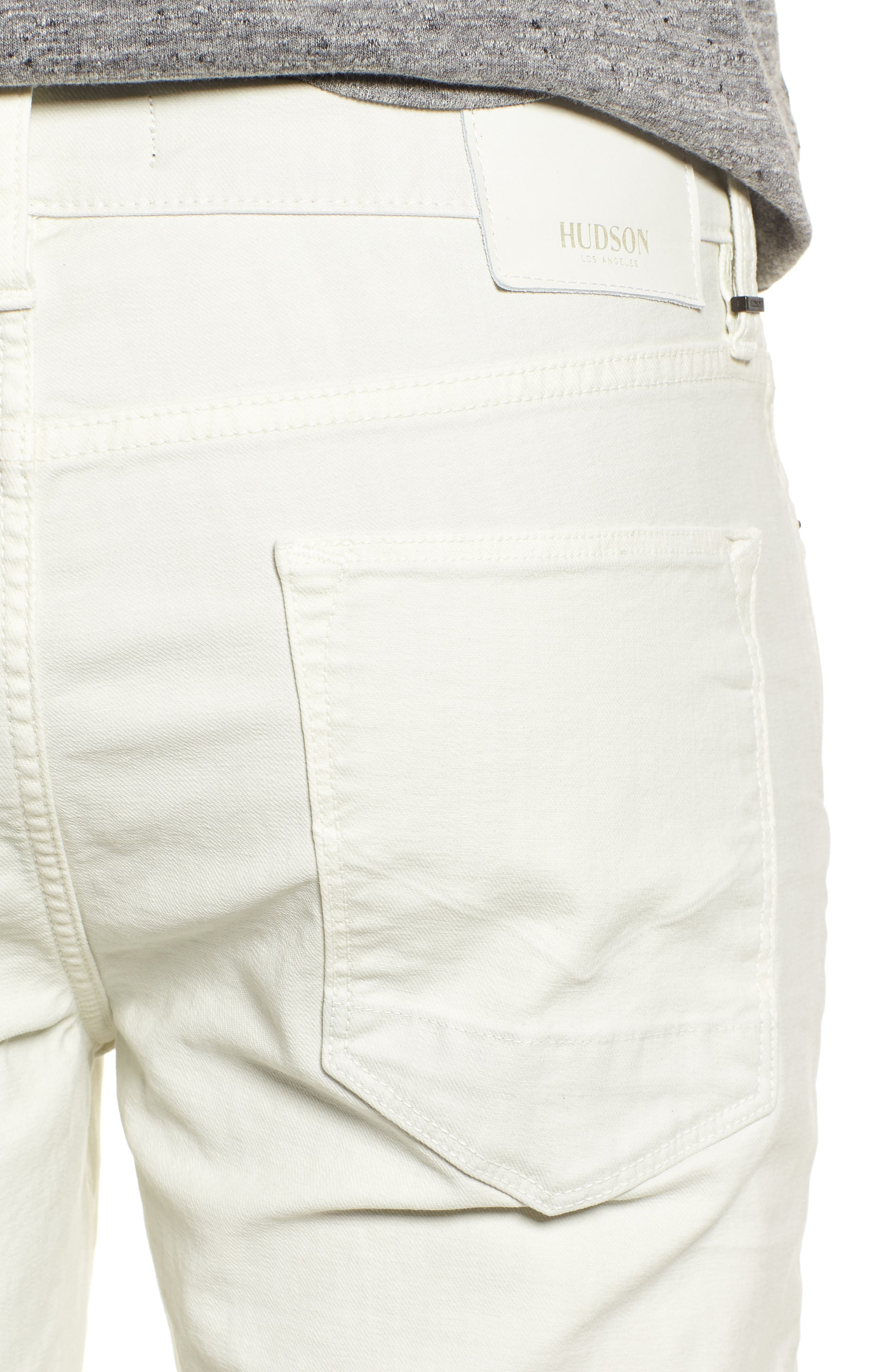 Hudson Axl Skinny Fit Jeans,                             Alternate thumbnail 4, color,                             DIRTY WHITE