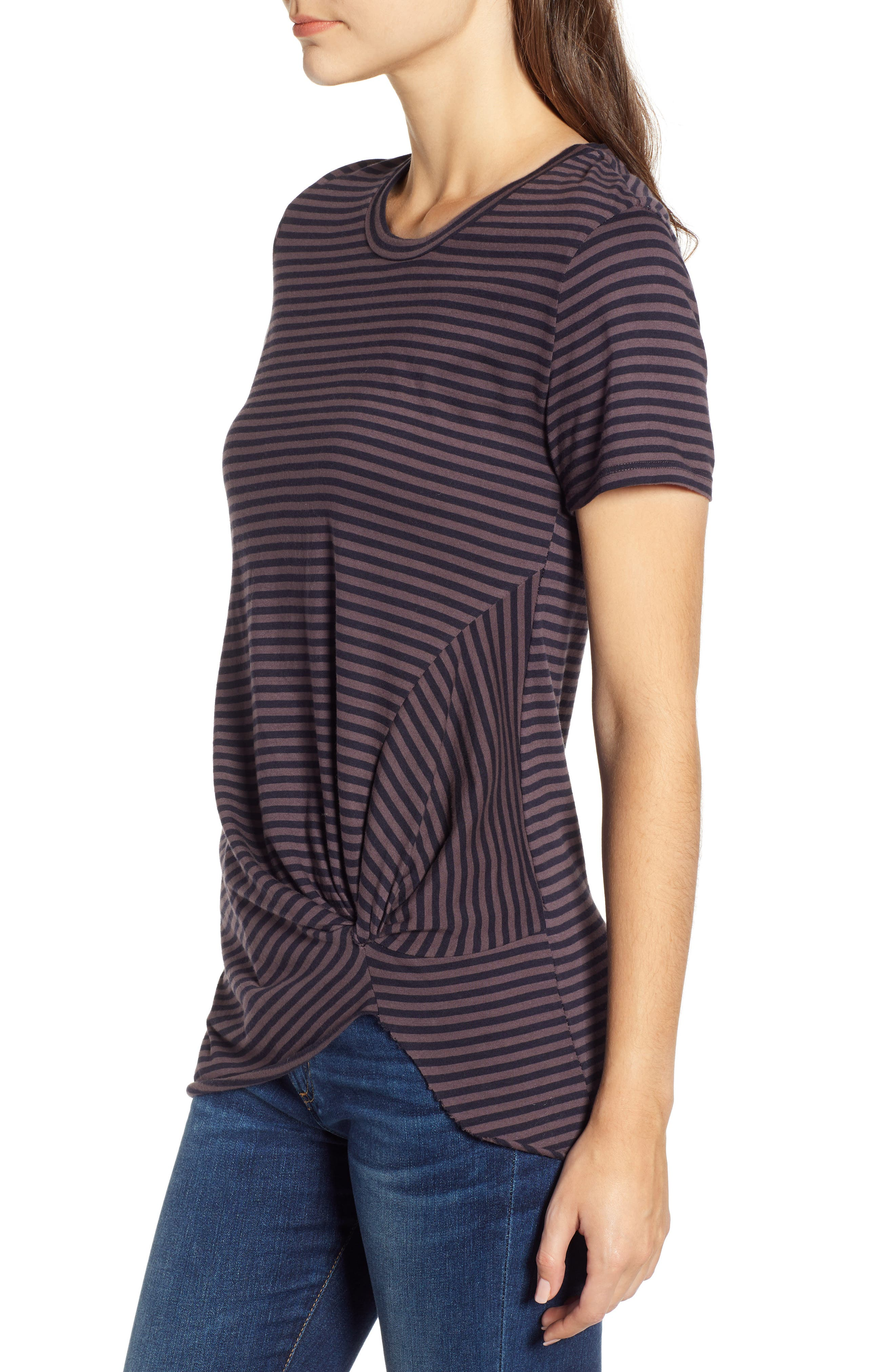 Stripe Twist Tee,                             Alternate thumbnail 3, color,                             TAUPE