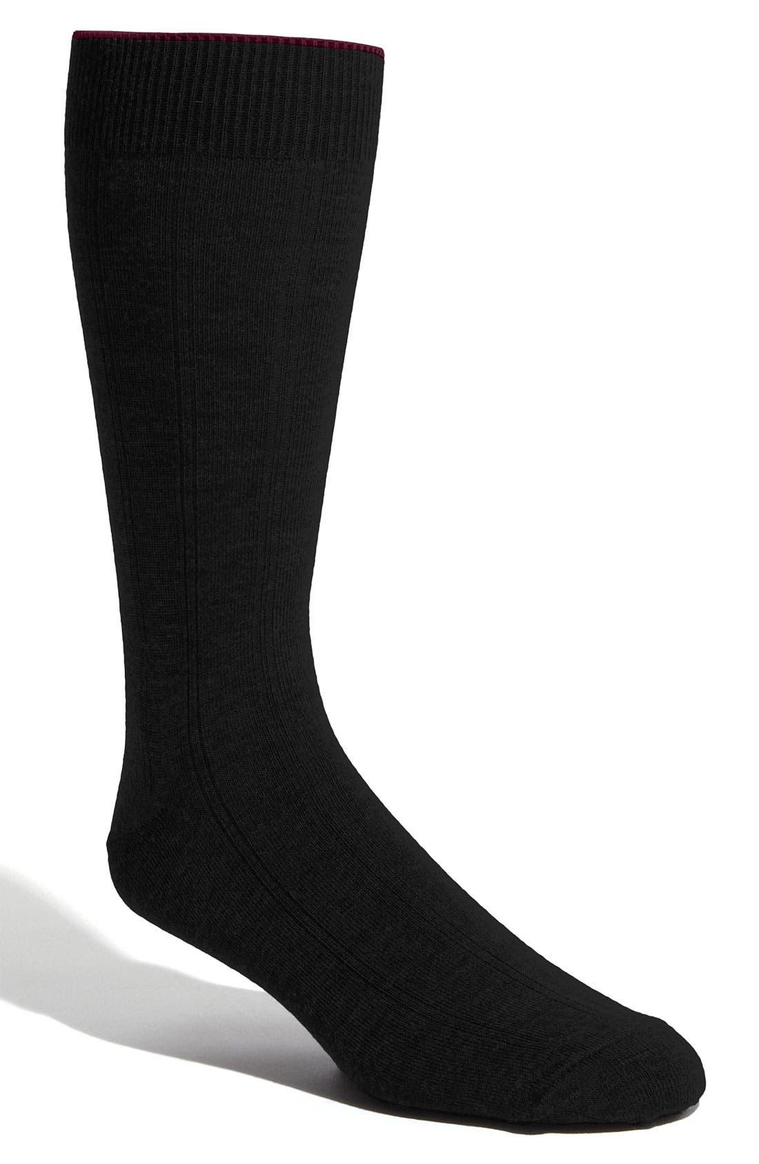Rib Wool Blend Socks,                             Main thumbnail 1, color,                             BLACK