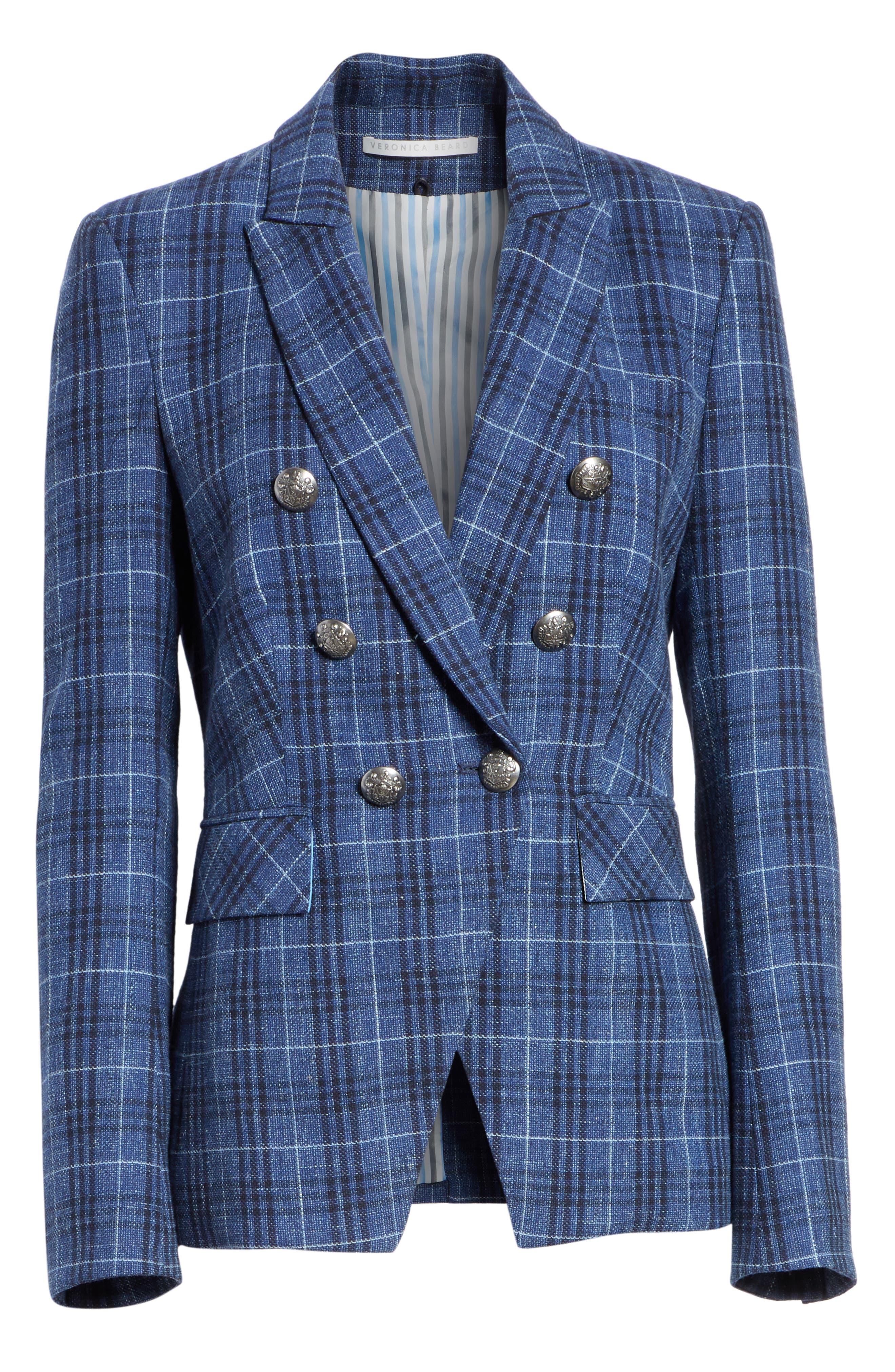 VERONICA BEARD Miller Wool Blend Plaid Dickey Jacket, Main, color, BLUE