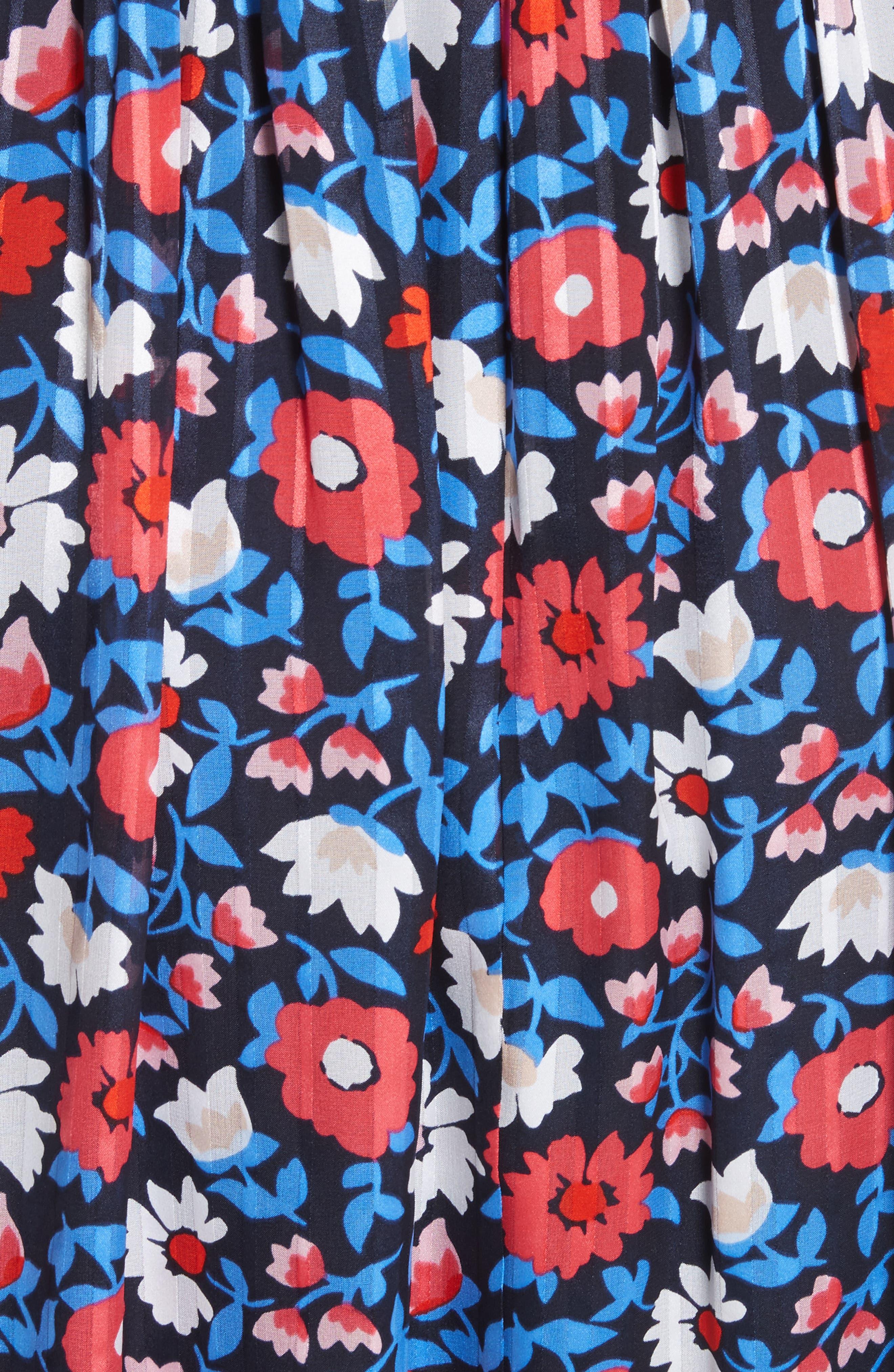 daisy satin stripe midi silk dress,                             Alternate thumbnail 5, color,