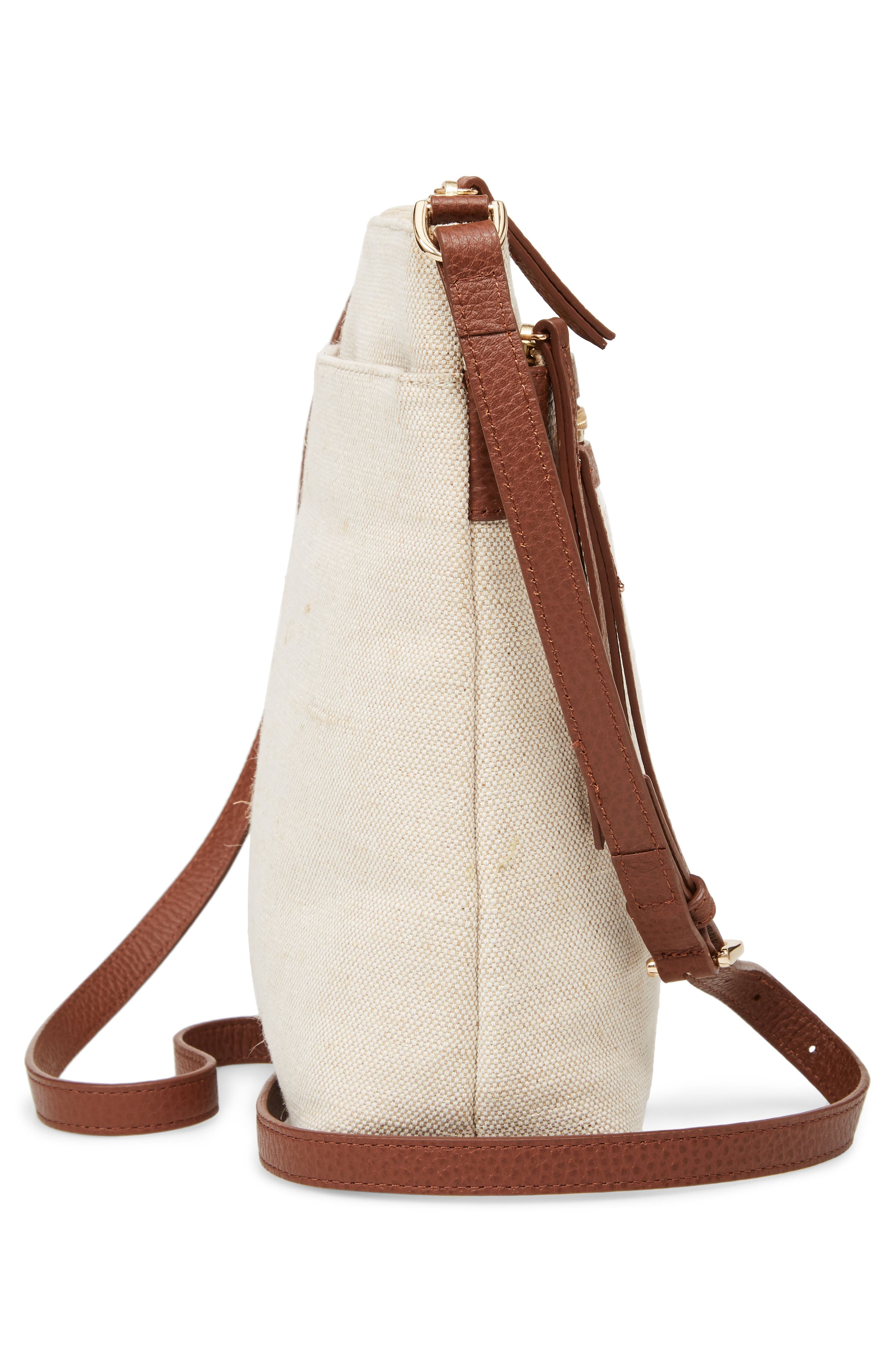 Kaison Linen & Leather Crossbody Bag,                             Alternate thumbnail 5, color,                             NATURAL/ GOLD