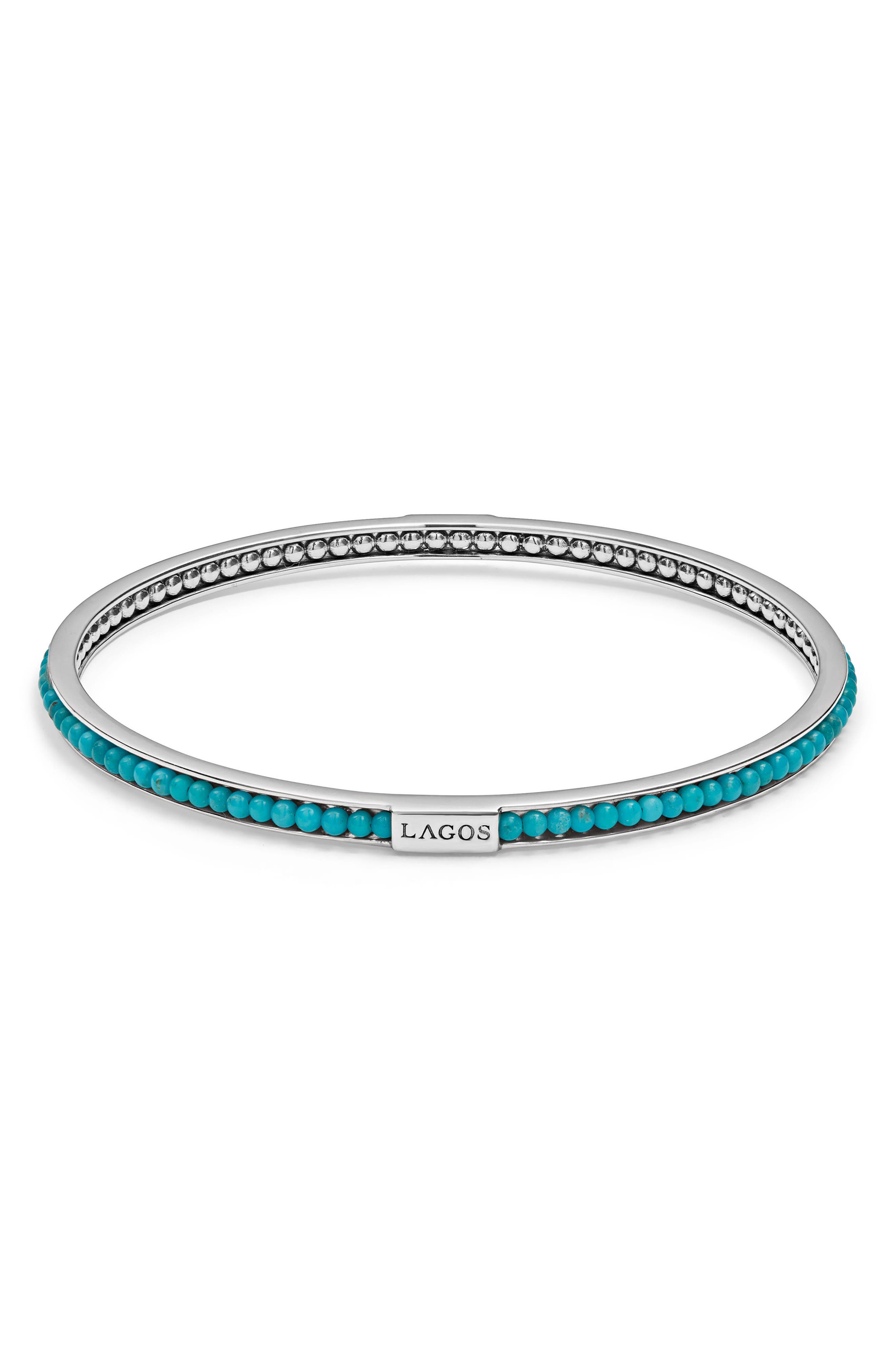 Sterling Silver Caviar Icon Turquoise Beaded Bangle Bracelet in Silver/ Turquoise
