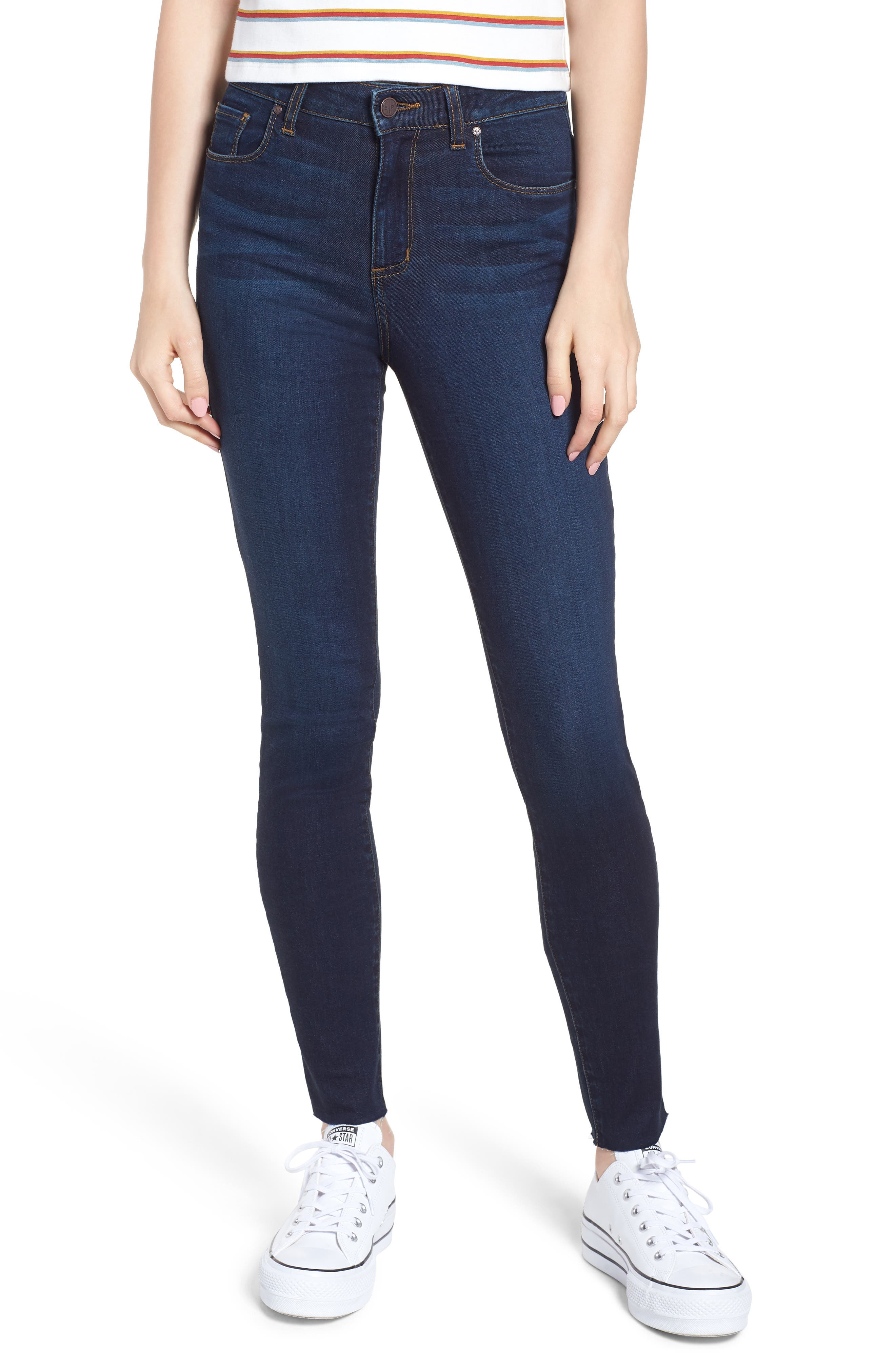 High Waist Cutoff Skinny Jeans, Main, color, 400