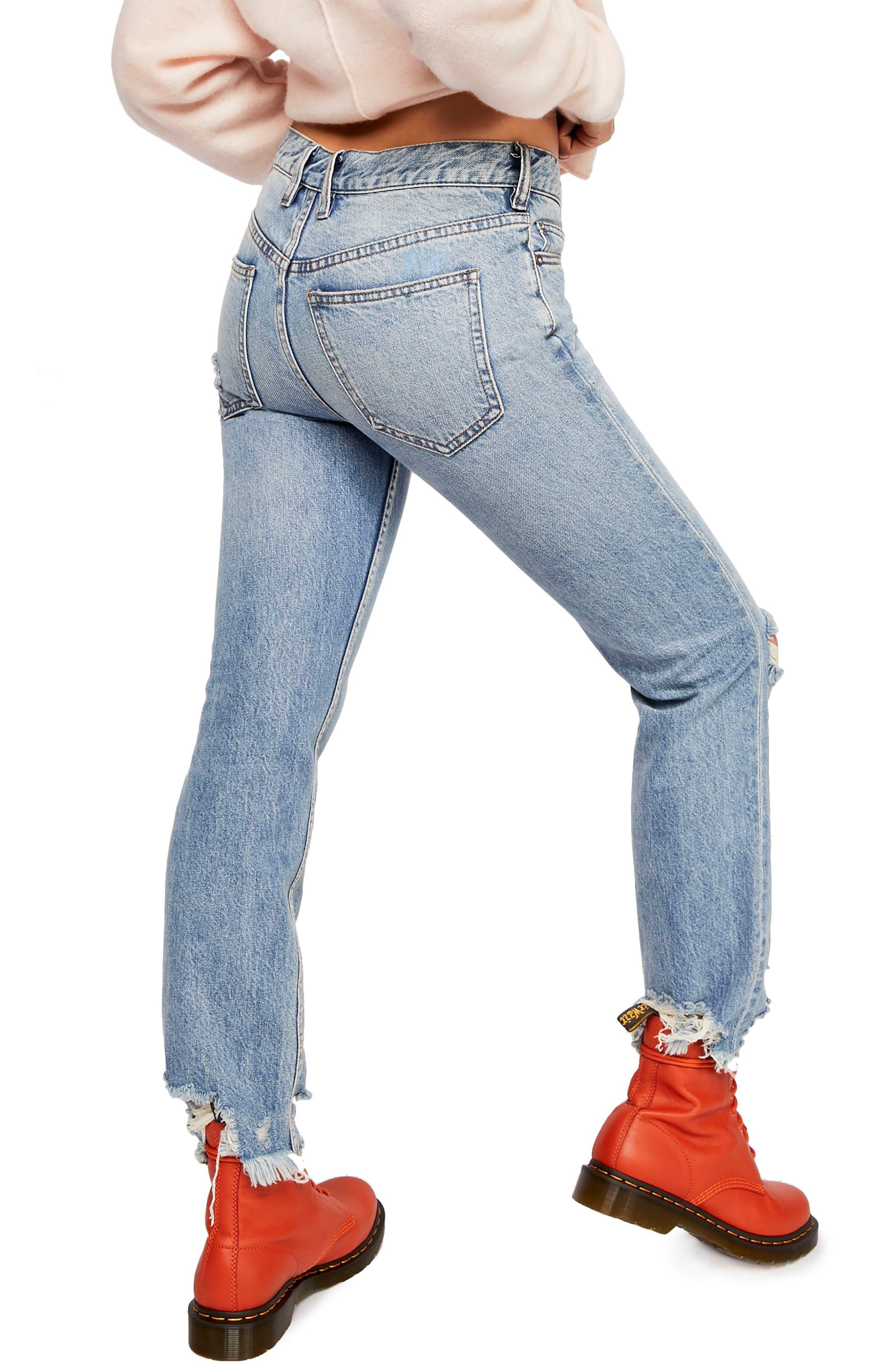 Chewed Up Straight Leg Jeans,                             Alternate thumbnail 2, color,                             INDIGO BLUE