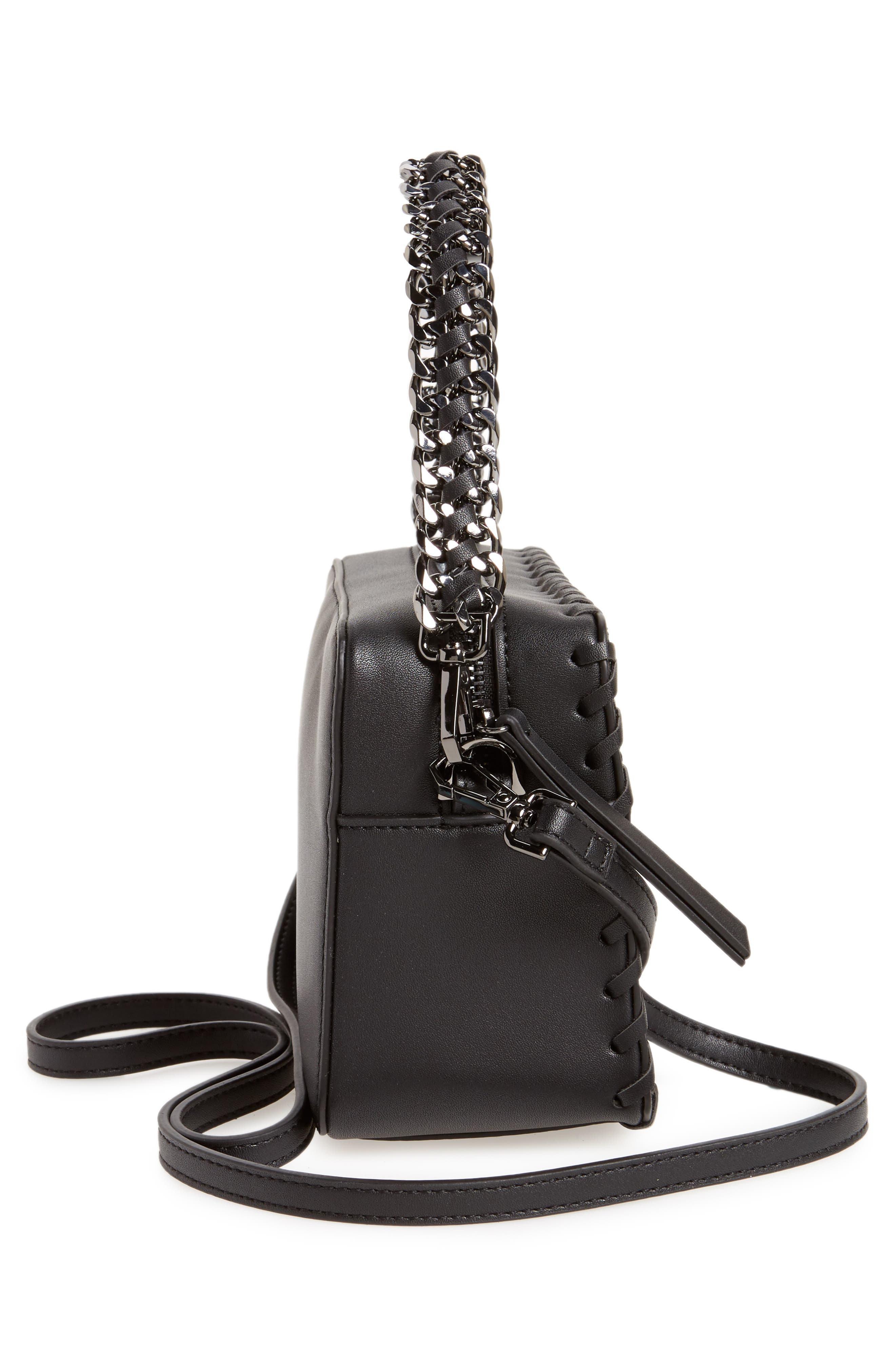 Rogue Whipstitch Faux Leather Crossbody Bag,                             Alternate thumbnail 5, color,                             001