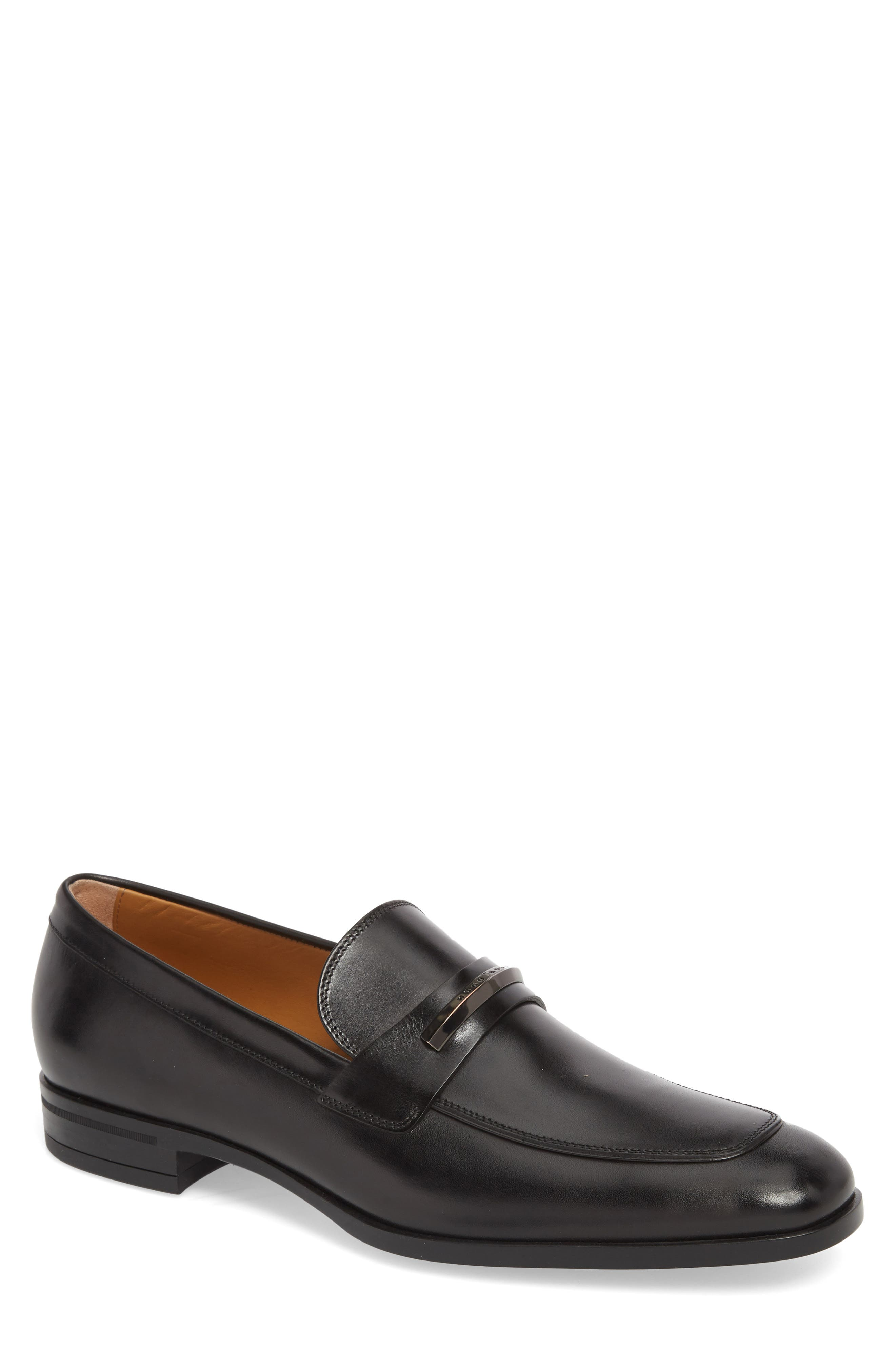 Hugo Boss Portland Solid Bit Loafer,                             Main thumbnail 1, color,                             BLACK LEATHER