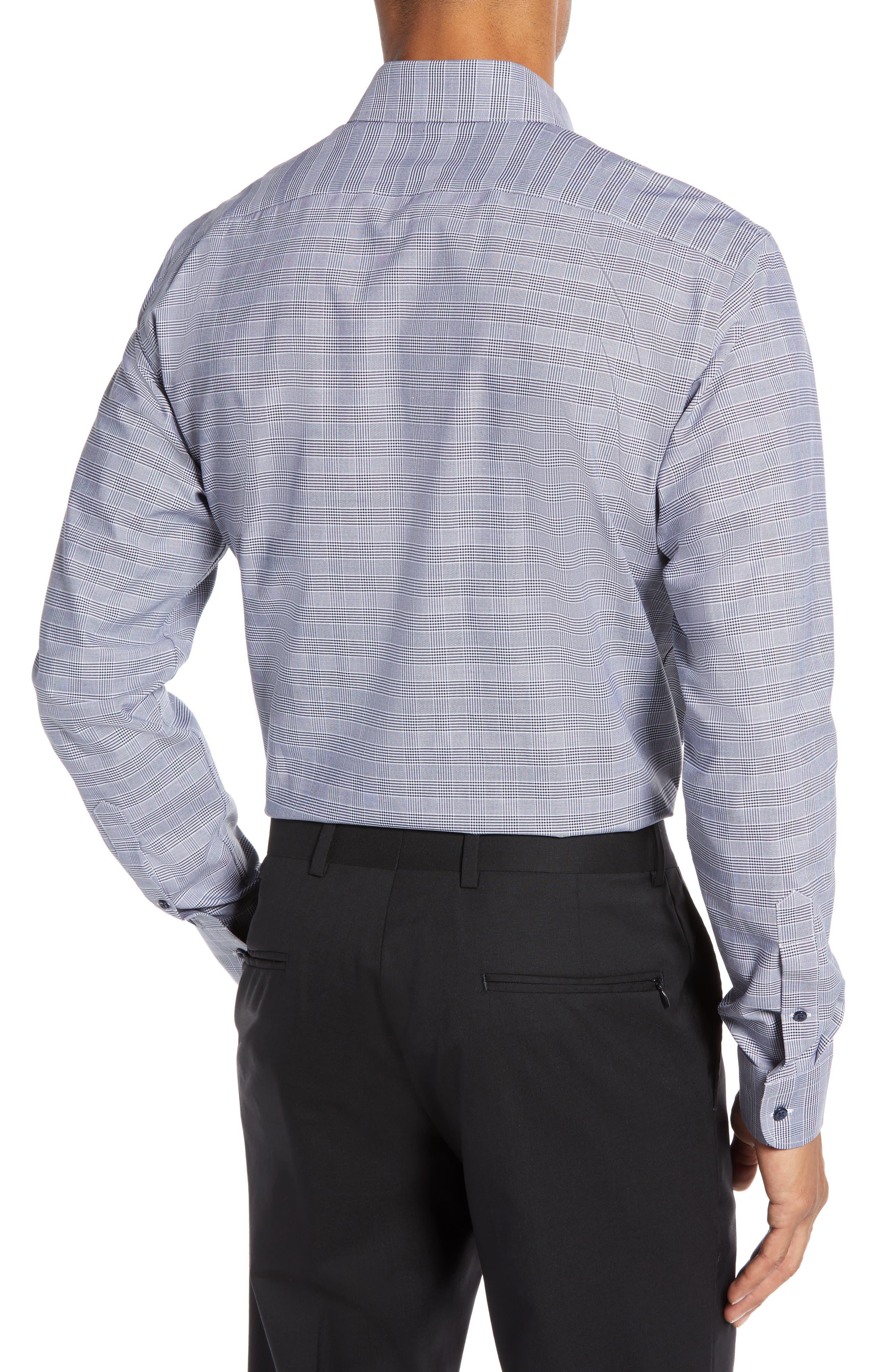 Tech-Smart Trim Fit Stretch Plaid Dress Shirt,                             Alternate thumbnail 3, color,                             NAVY PEACOAT