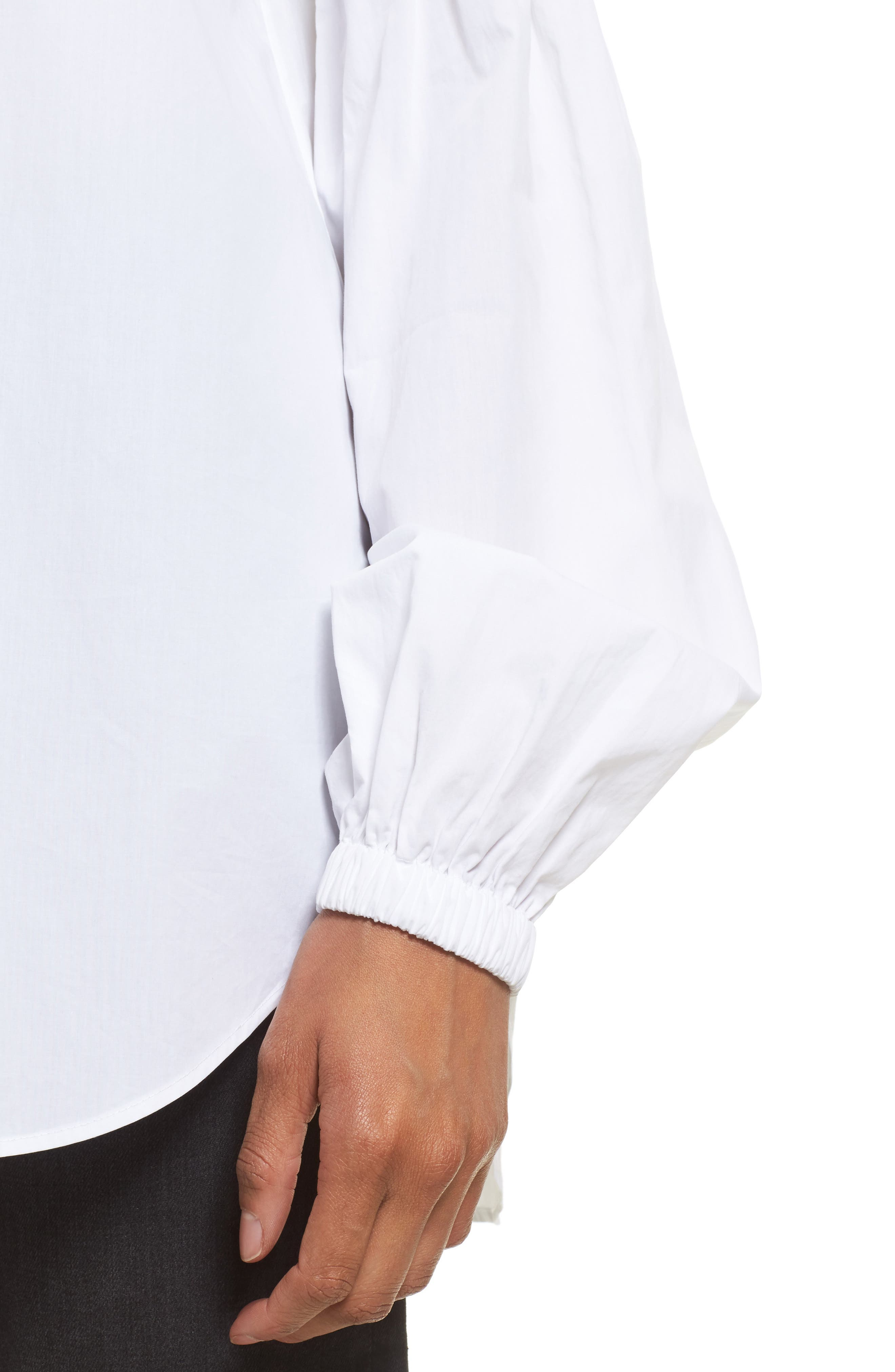 Puff Sleeve Cotton Poplin Shirt,                             Alternate thumbnail 4, color,                             100