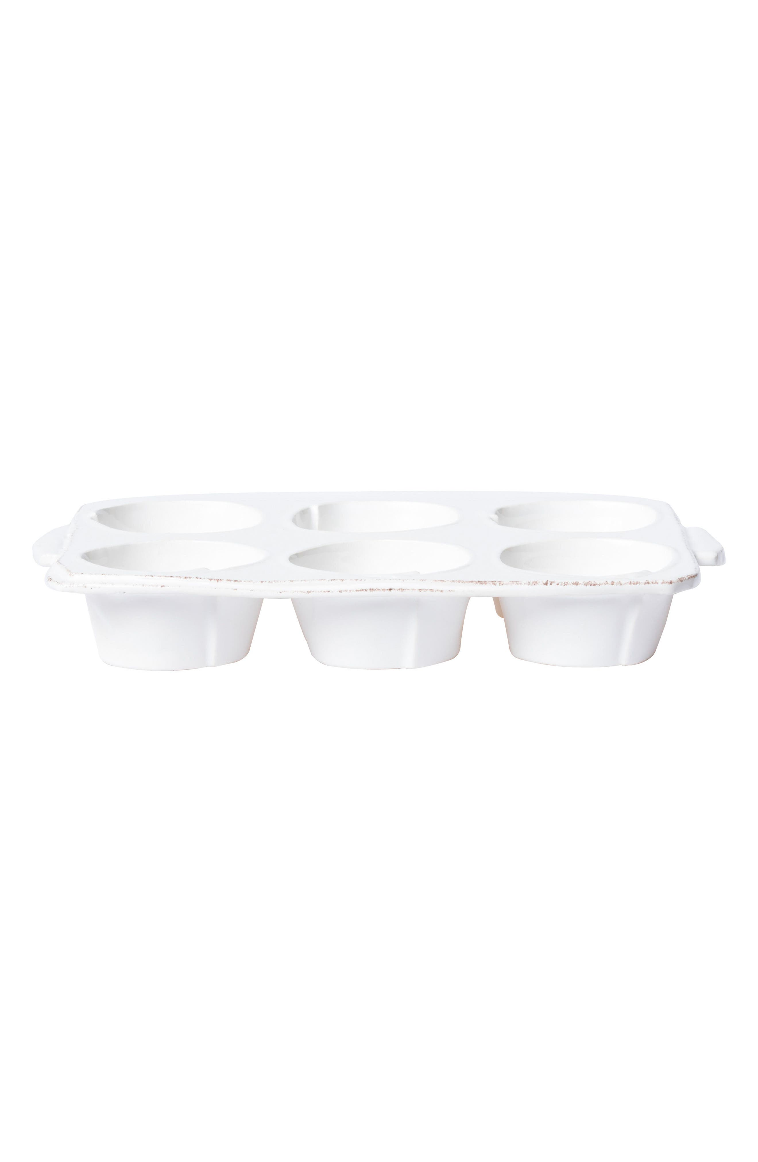 Lastra Stoneware Muffin Tray,                             Main thumbnail 1, color,                             WHITE