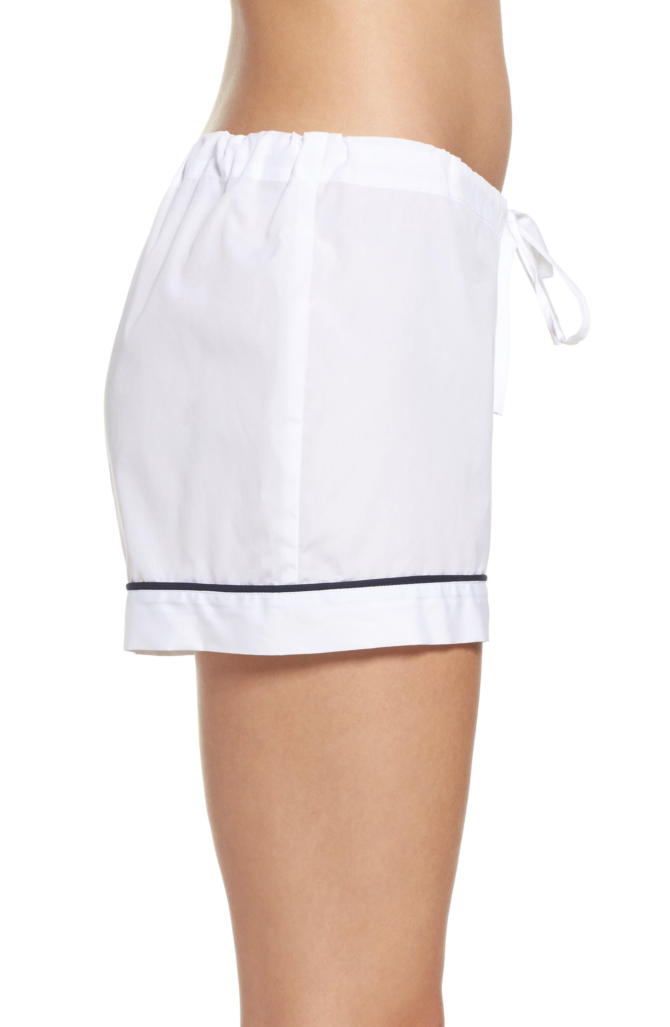 Piped Pajama Shorts,                             Alternate thumbnail 3, color,                             100