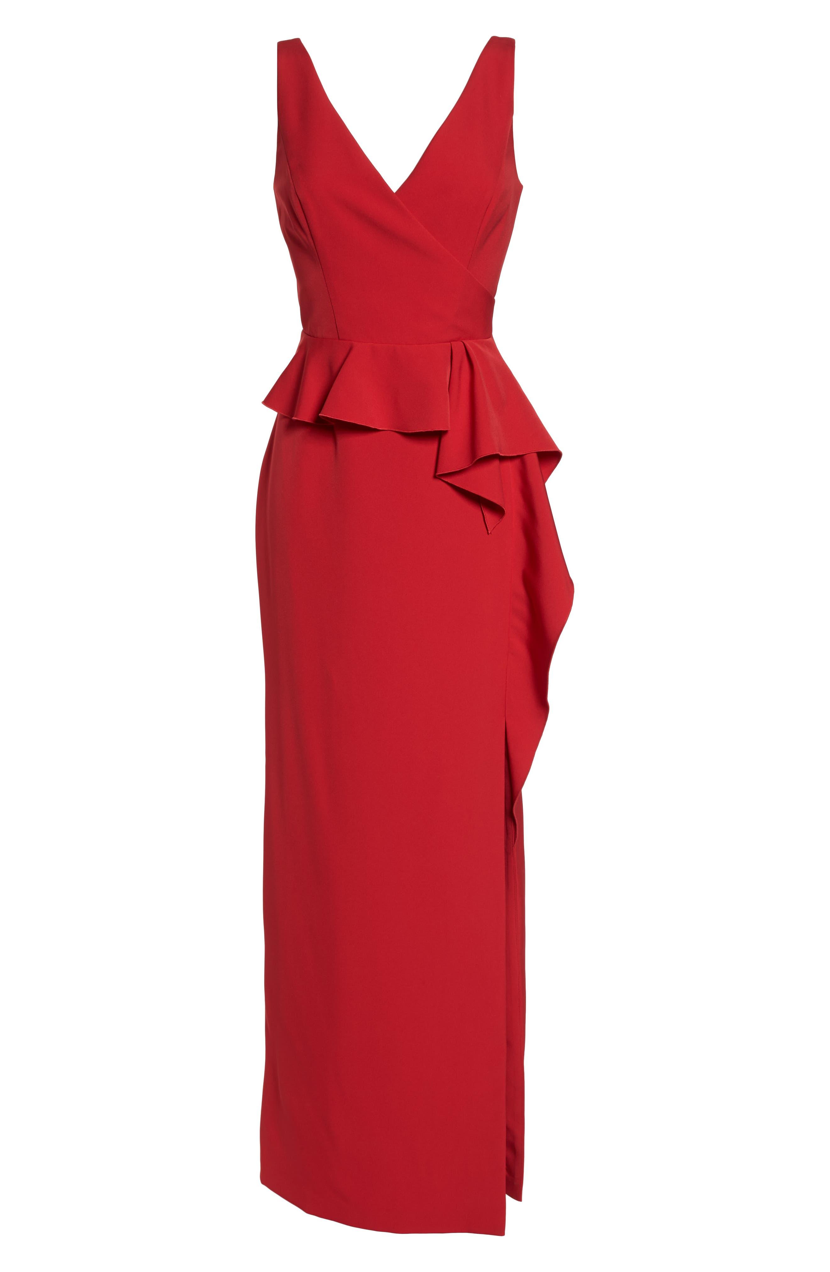 Laguna Faux Wrap Gown,                             Alternate thumbnail 7, color,                             RED