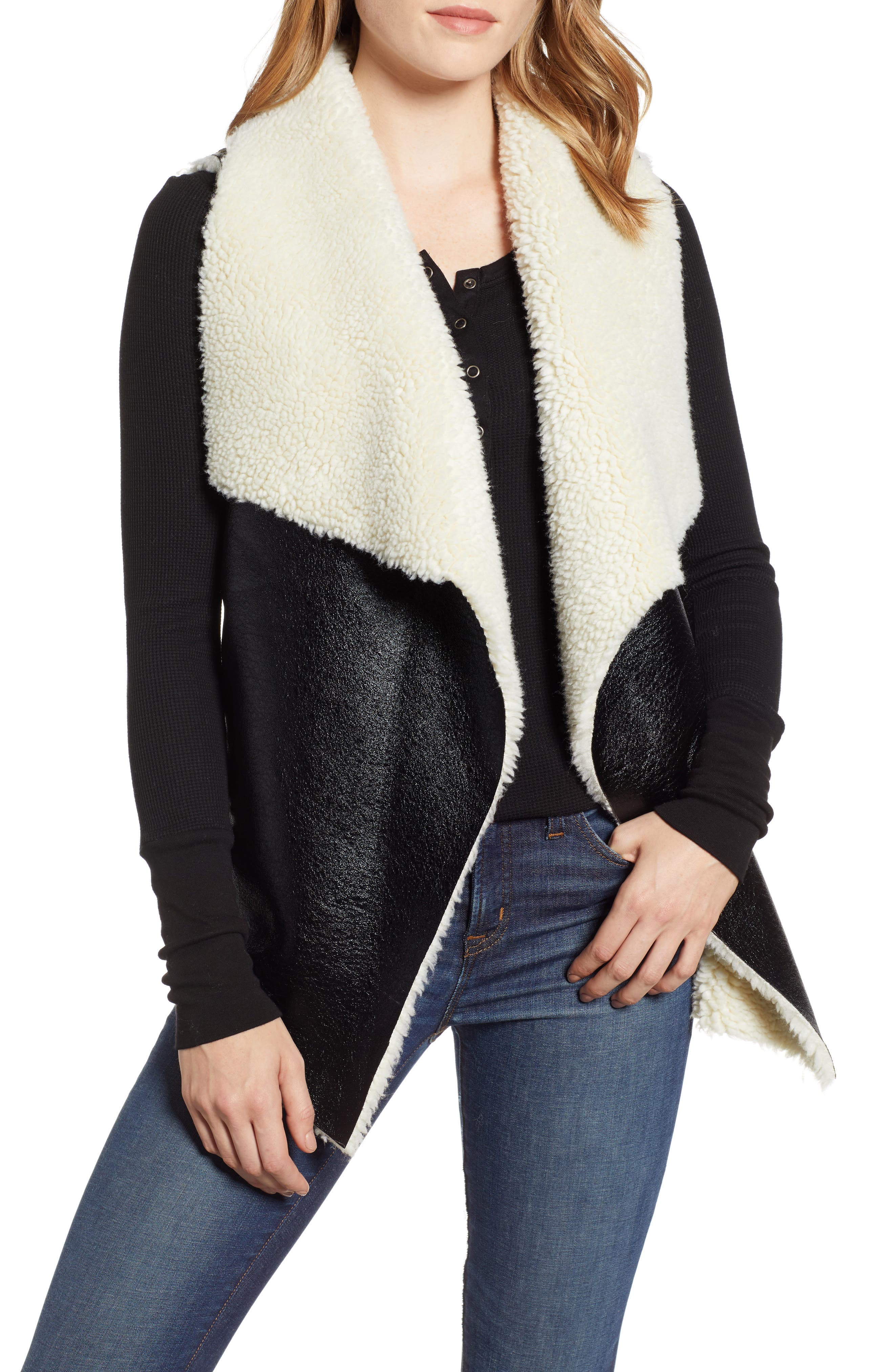 Fly Away Faux Shearling Back Zip Vest,                         Main,                         color, BLACK