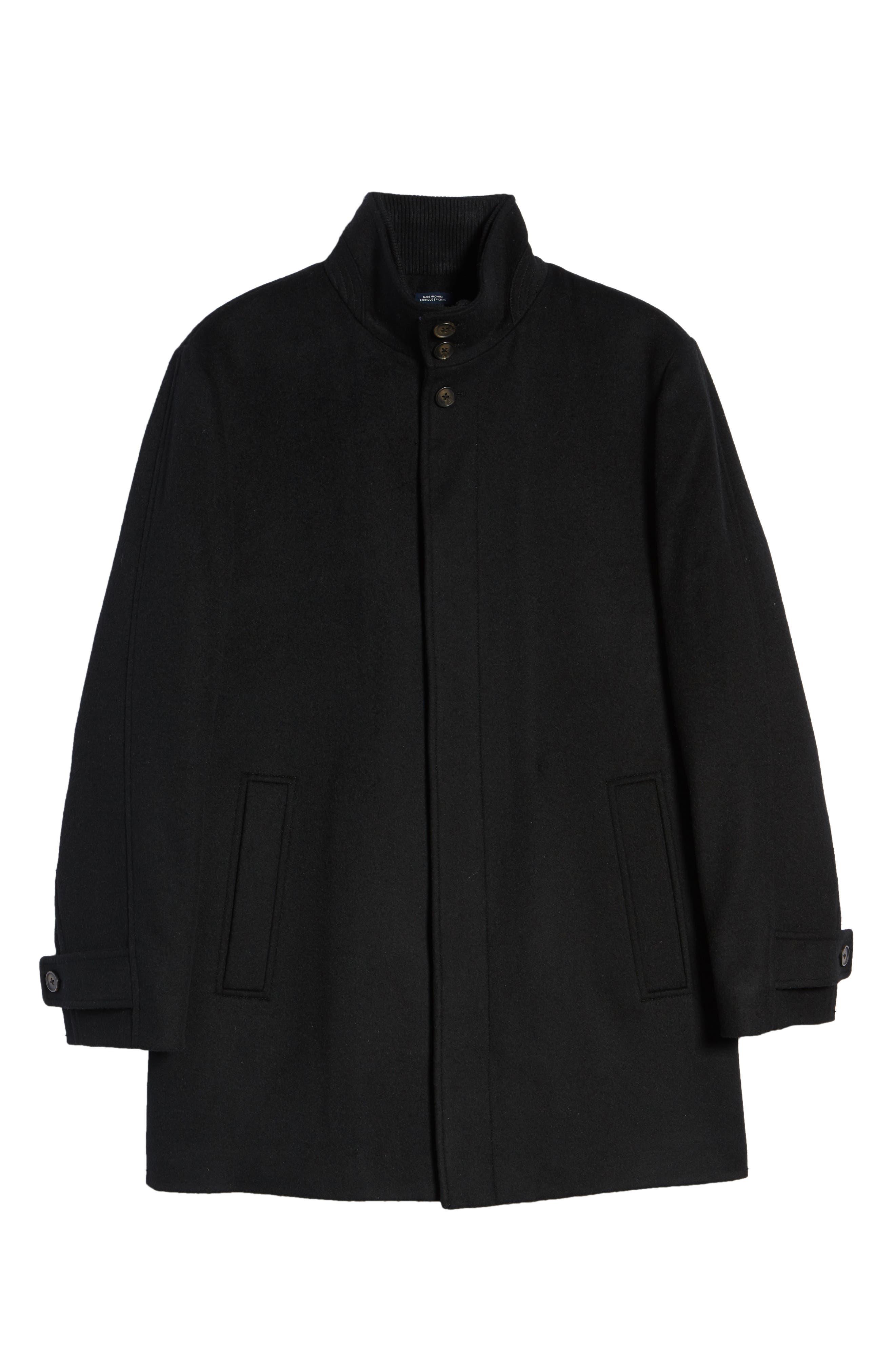 Hudson Wool Car Coat,                             Alternate thumbnail 6, color,                             BLACK