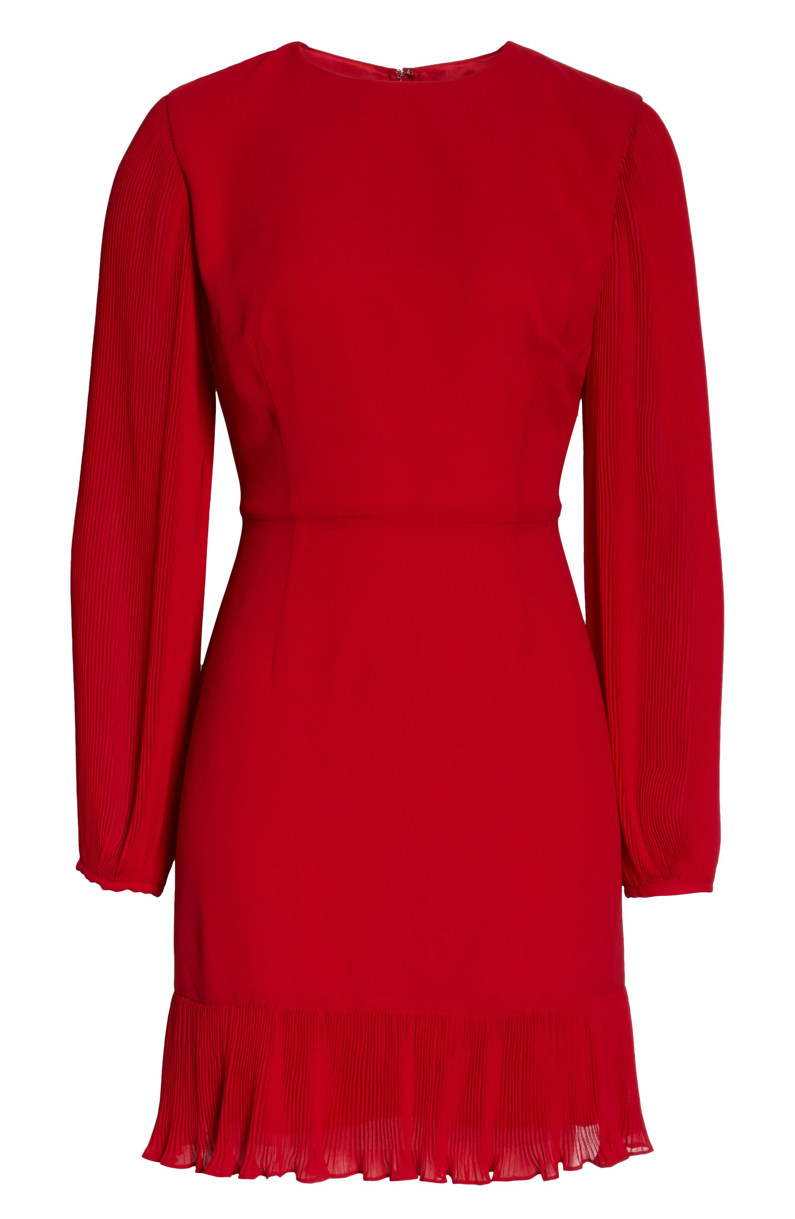 Pleat Sleeve & Ruffle Hem Dress,                             Alternate thumbnail 7, color,                             RED JESTER