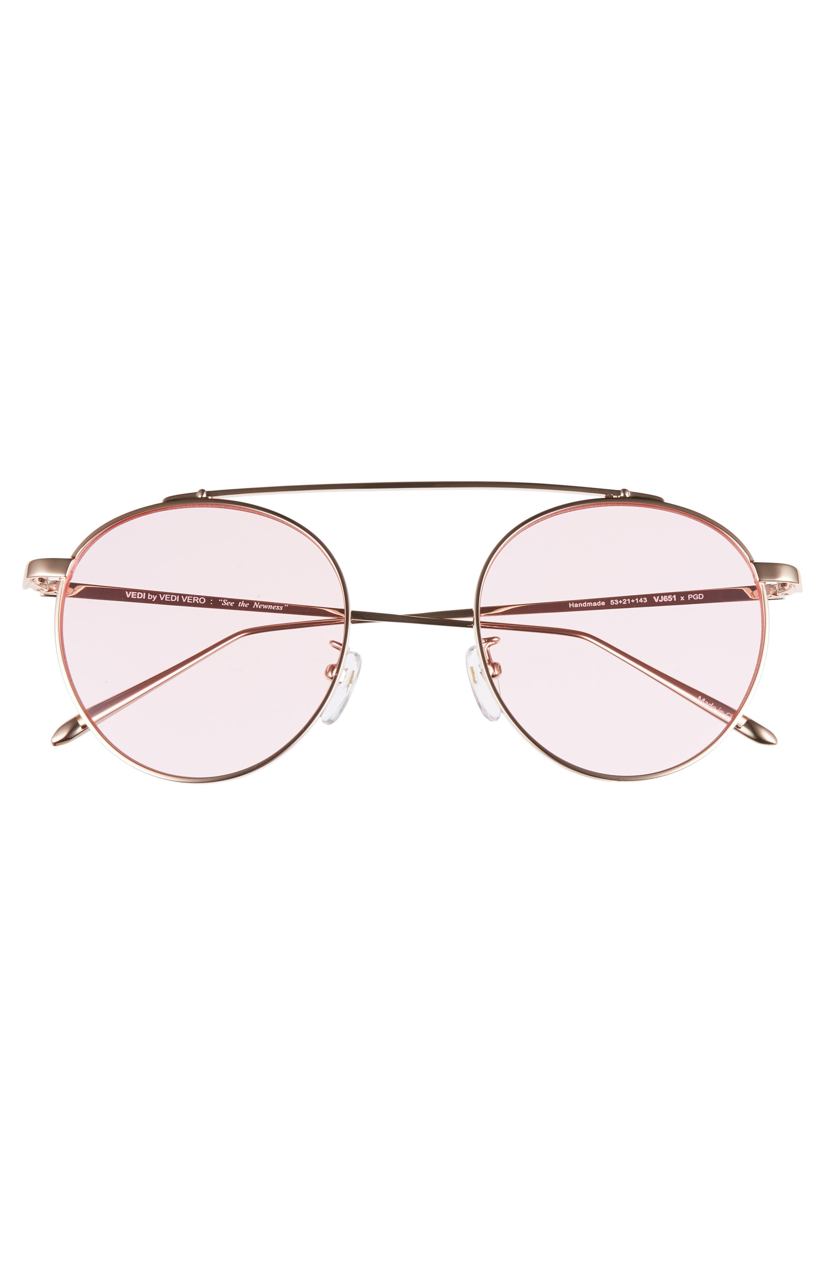 VEDI VERO,                             53mm Round Sunglasses,                             Alternate thumbnail 3, color,                             ROSEGLD/PINK