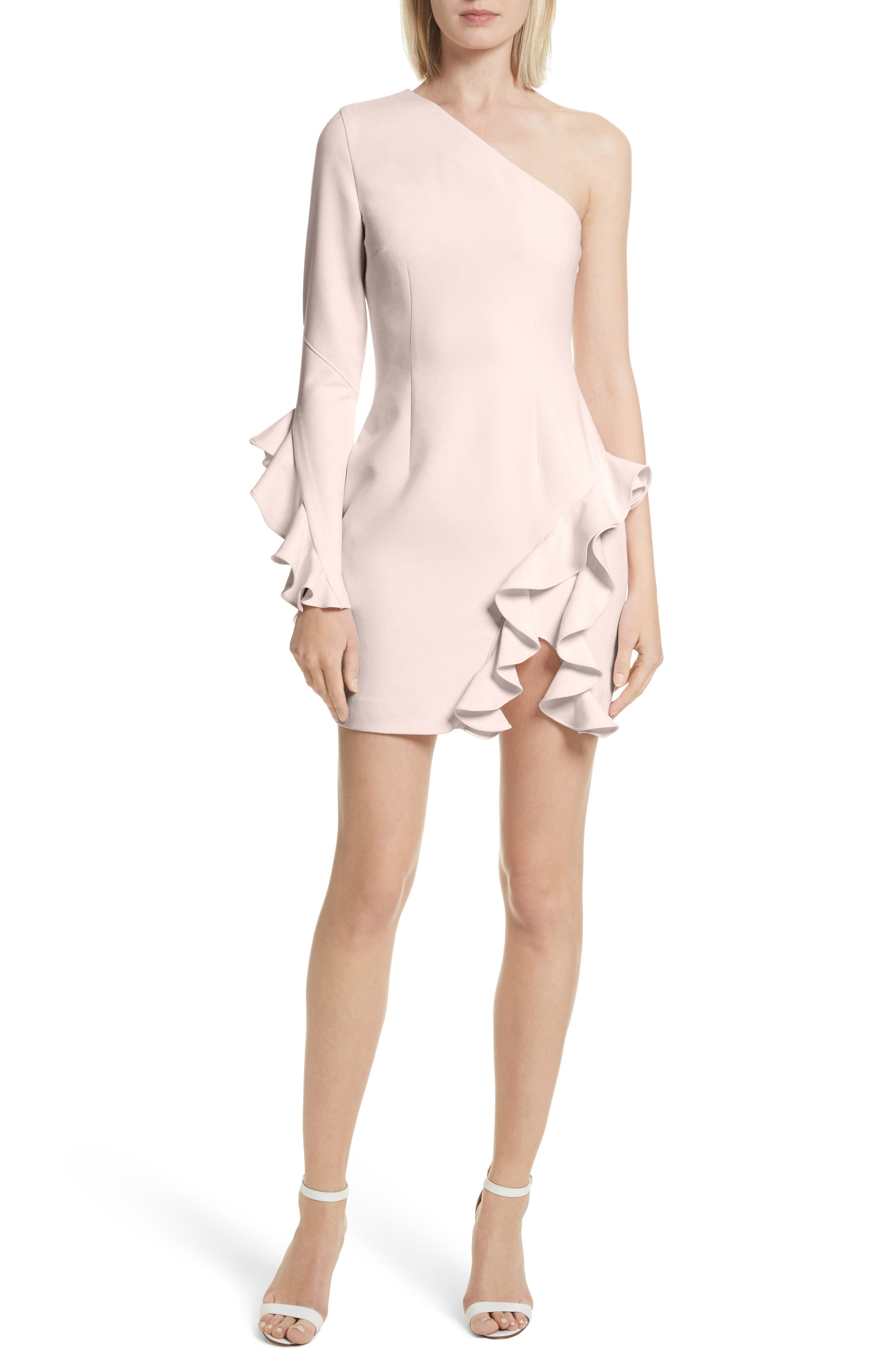 Pia Ruffle Trim One-Shoulder Dress,                         Main,                         color, PEARL BLUSH