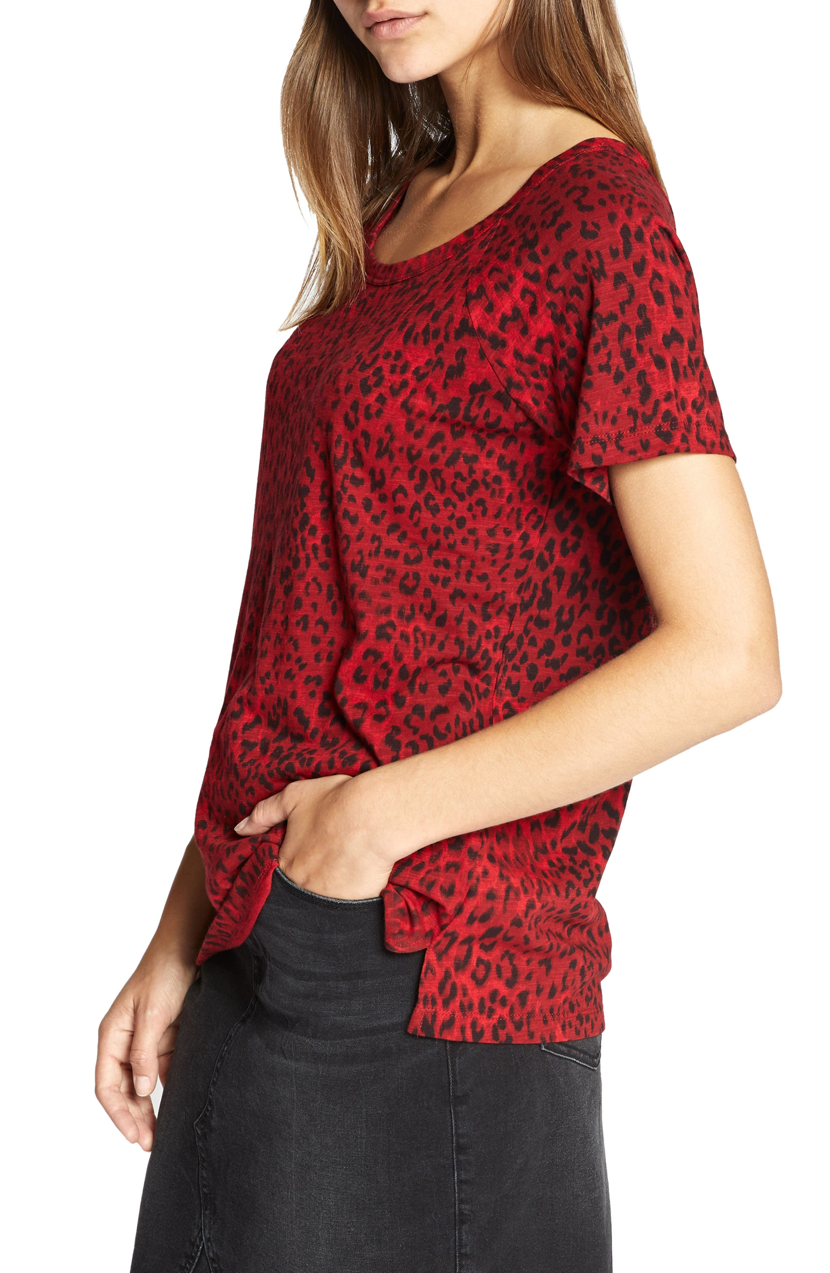 Animal Print Tee,                             Alternate thumbnail 3, color,                             RED LEOPARD