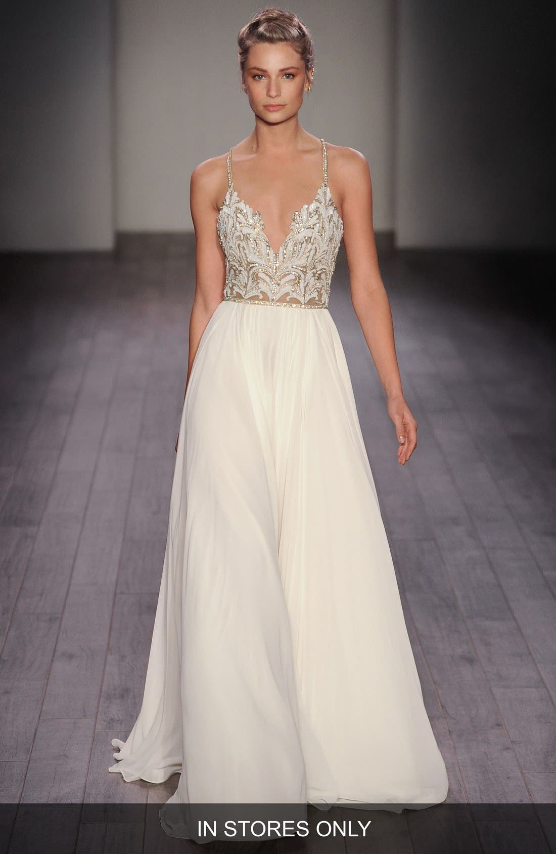 Teresa T-Strap Back Embellished Chiffon A-Line Gown,                             Main thumbnail 1, color,                             IVORY NUDE