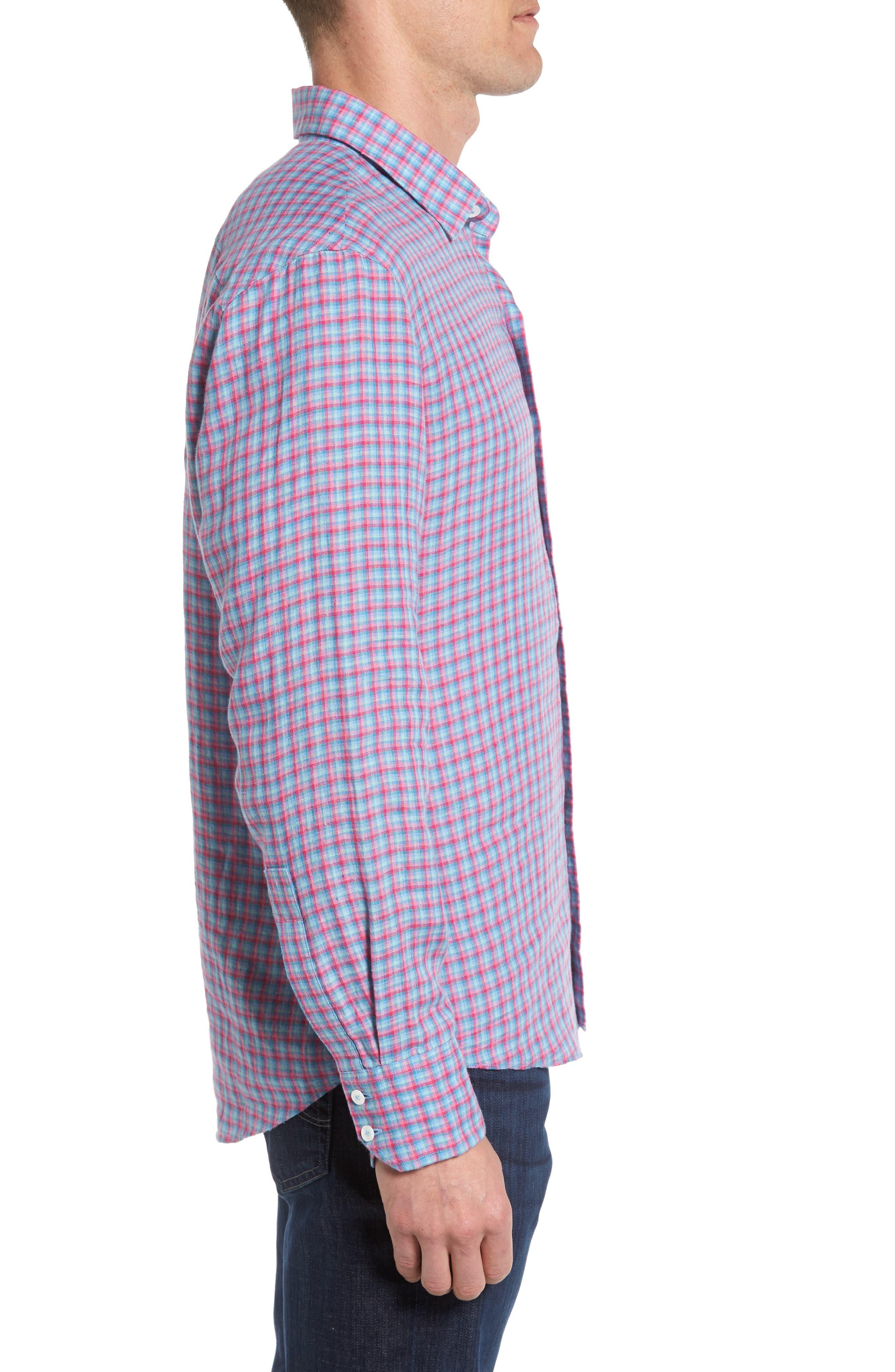 Althoff Plaid Linen Sport Shirt,                             Alternate thumbnail 3, color,                             PINK