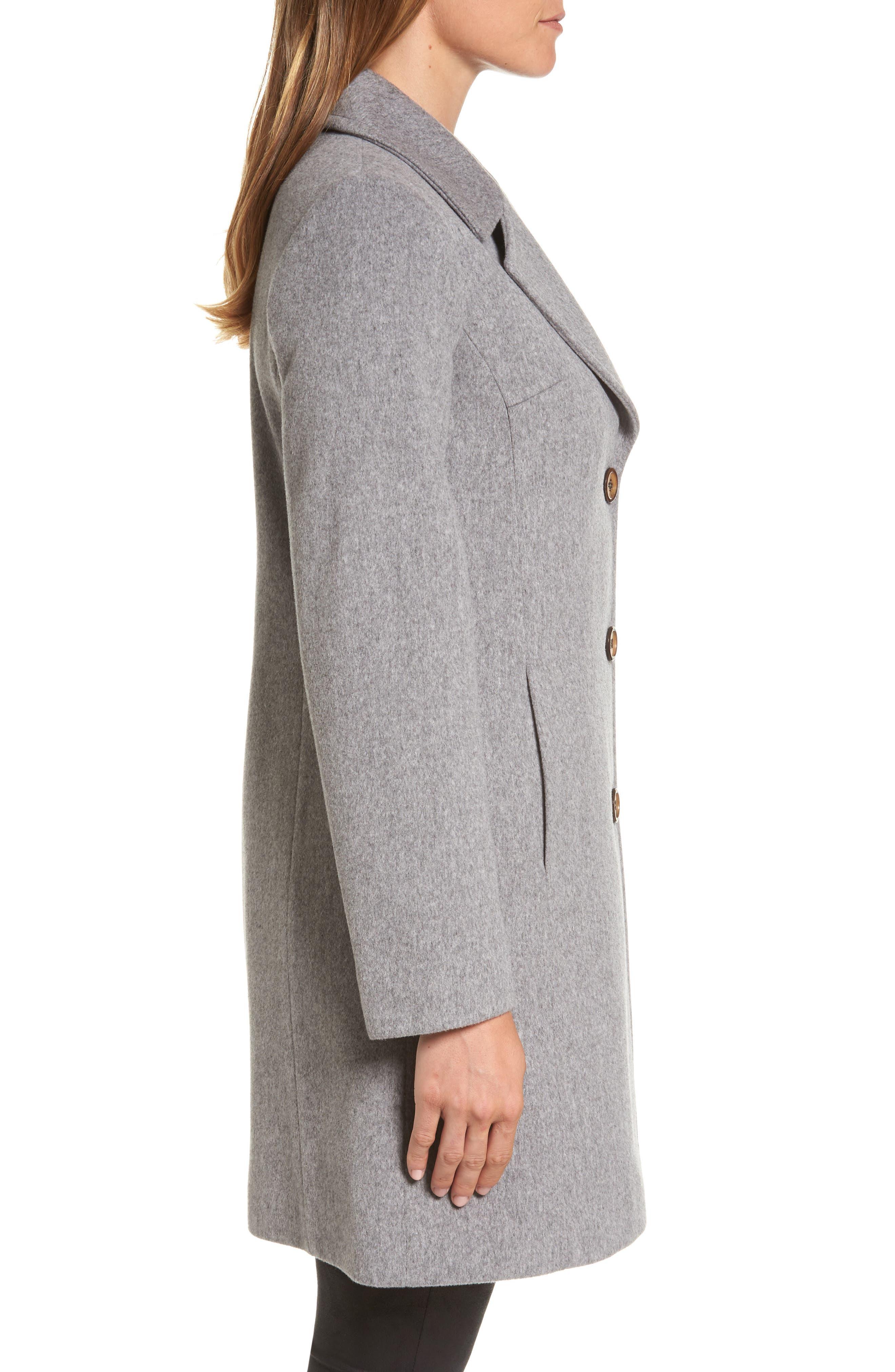 Notch Collar Wool Walking Coat,                             Alternate thumbnail 3, color,                             080