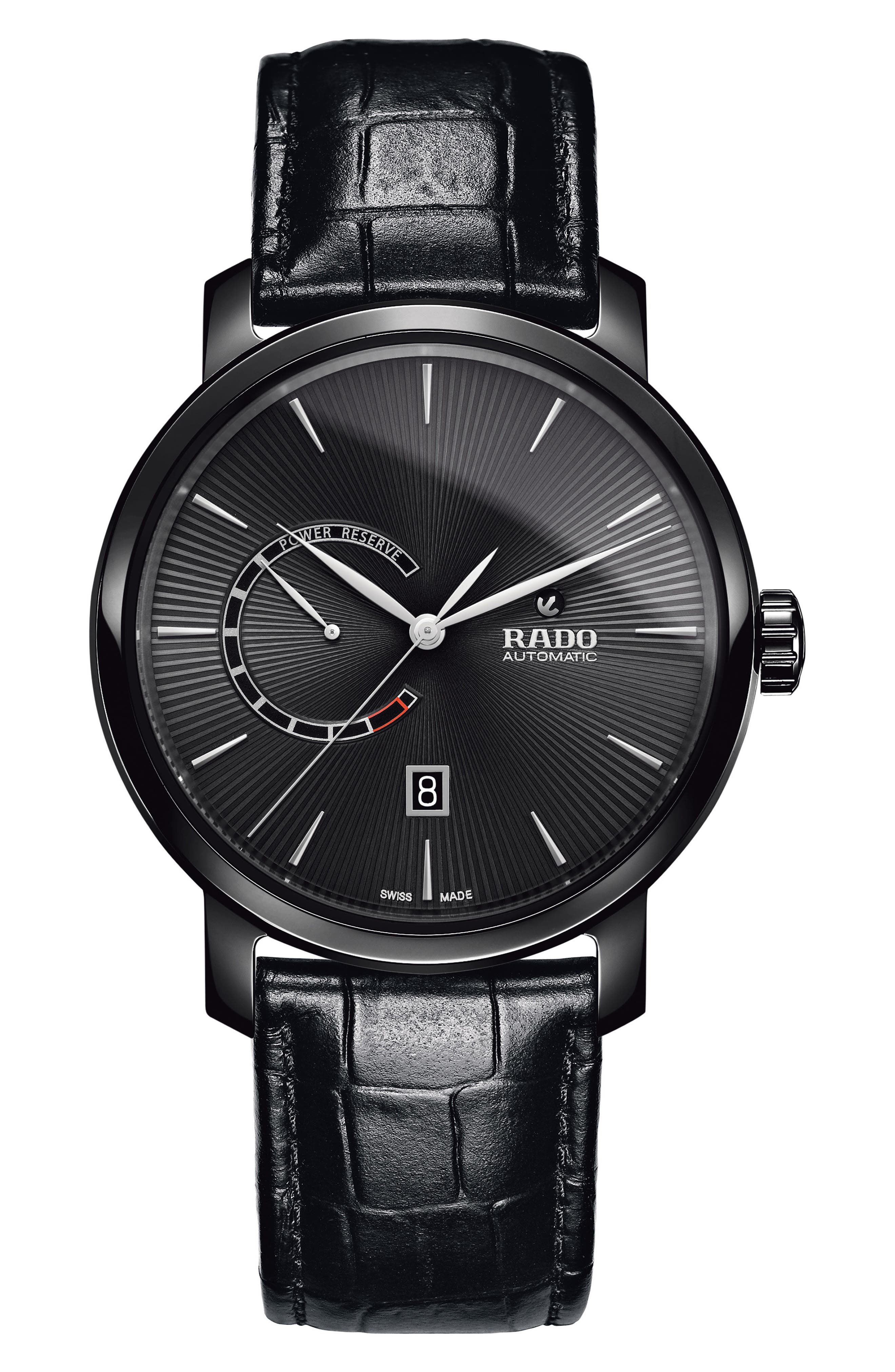 DiaMaster Leather Strap Watch, 43mm,                         Main,                         color, 001