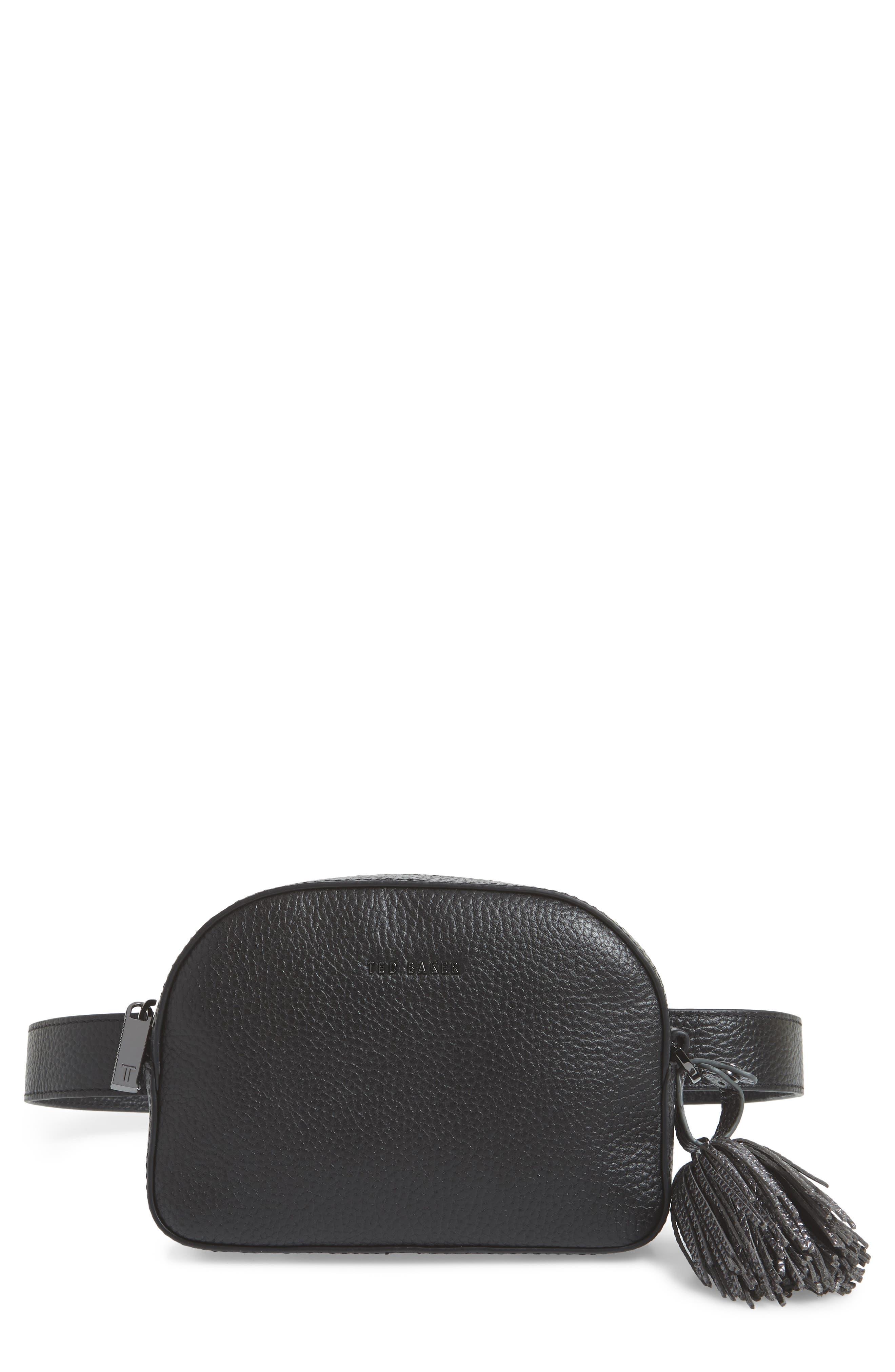 Leather Belt Bag,                         Main,                         color, BLACK