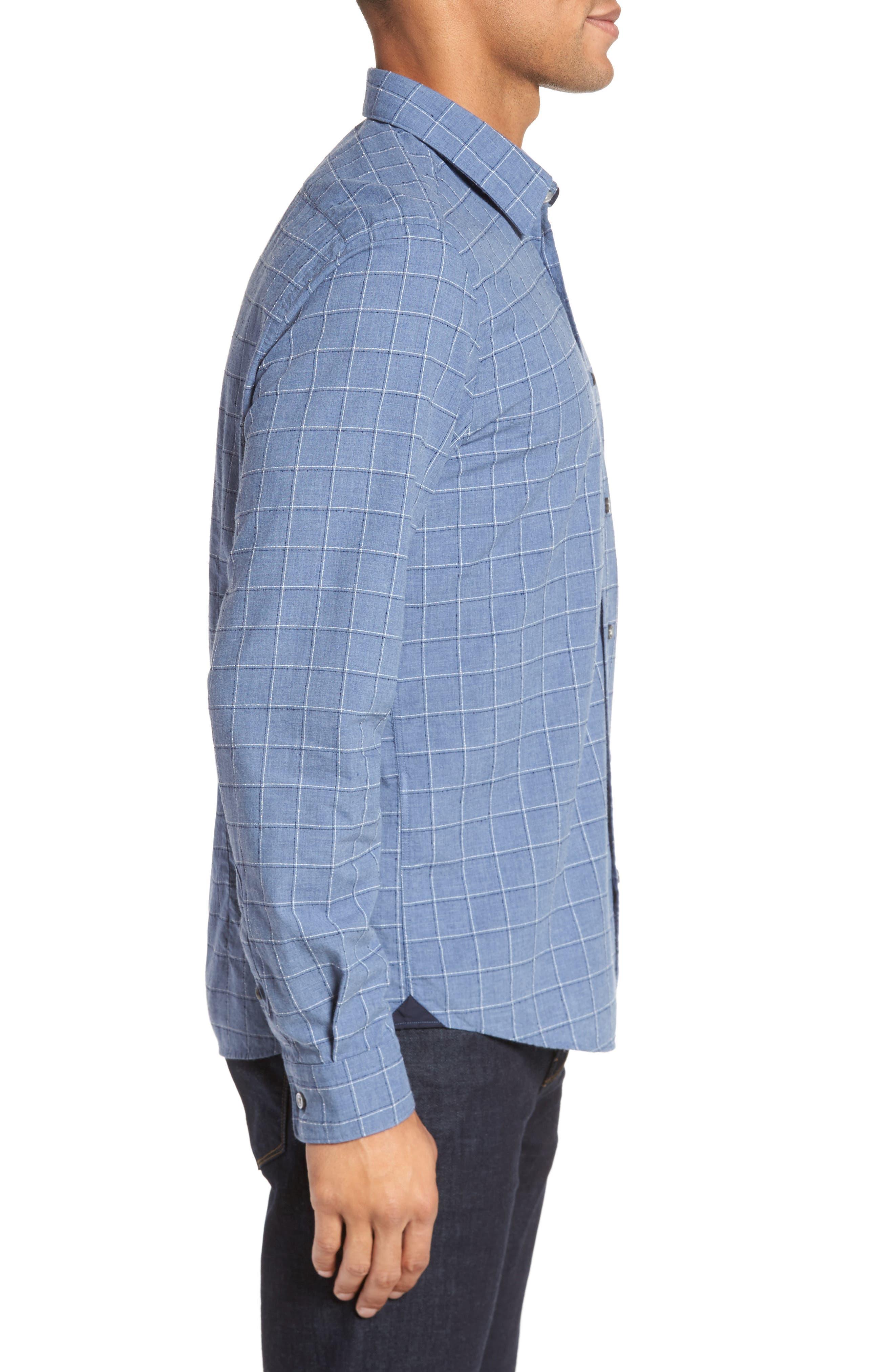 BOSS Lance Slim Fit Check Sport Shirt,                             Alternate thumbnail 3, color,                             489