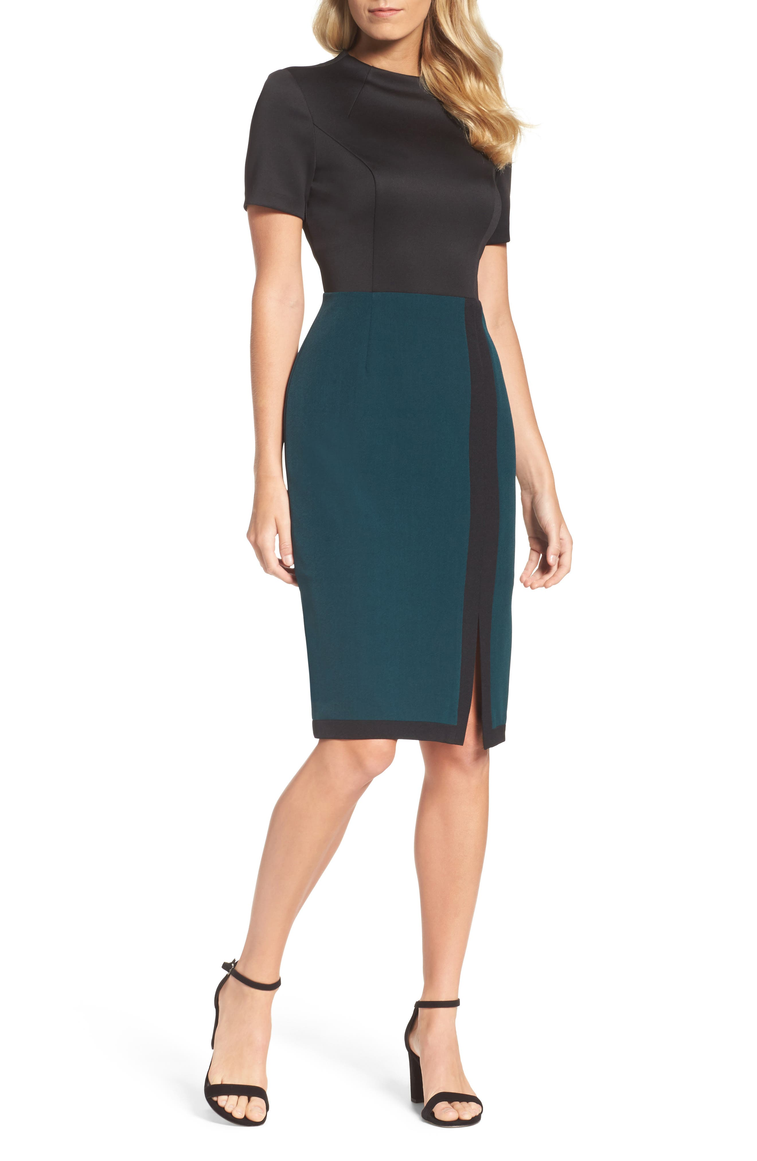 Scuba & Crepe Sheath Dress,                             Alternate thumbnail 9, color,