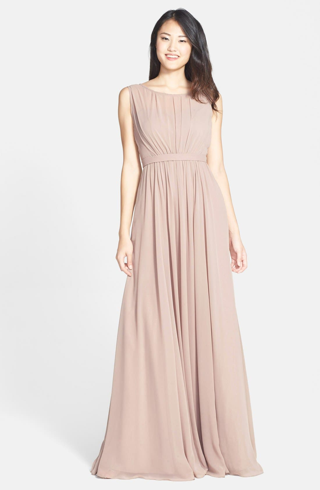 Vivienne Pleated Chiffon Gown,                             Main thumbnail 11, color,