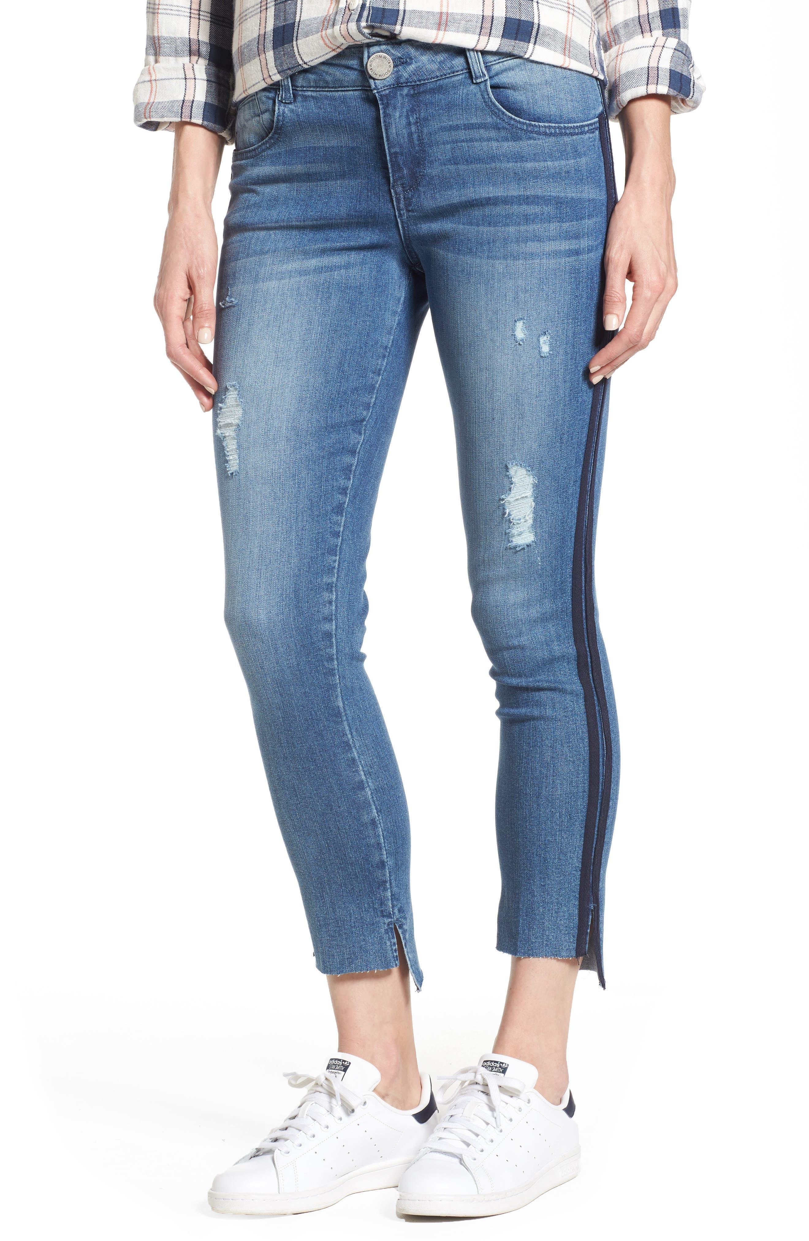 Side Stripe Ankle Jeans,                             Main thumbnail 1, color,