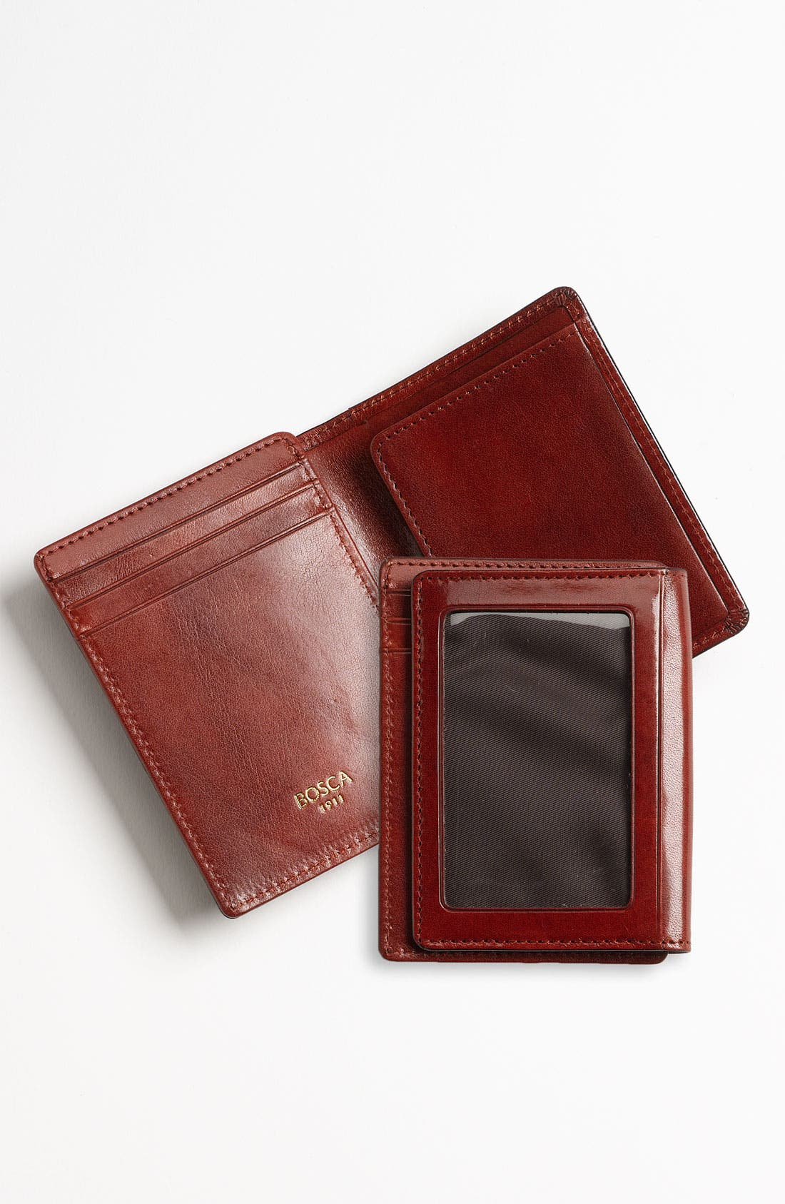 'Old Leather' Front Pocket ID Wallet,                             Alternate thumbnail 4, color,                             COGNAC