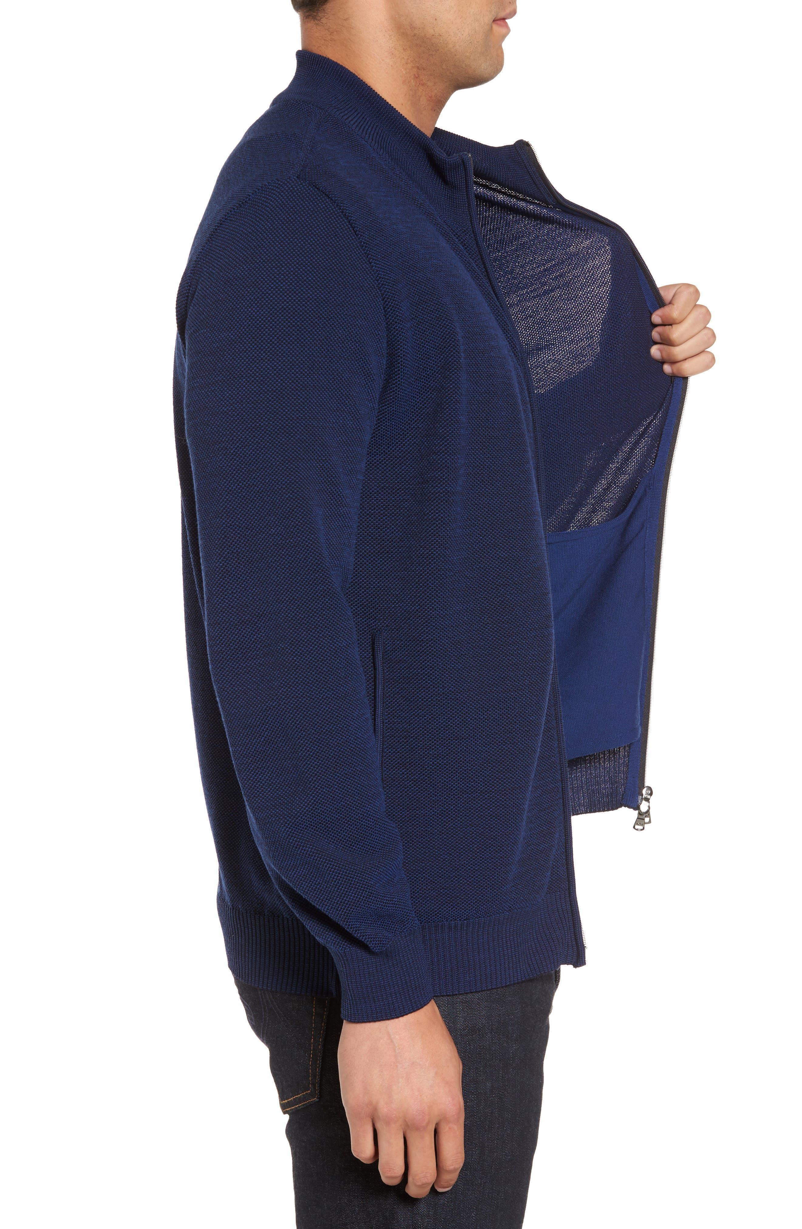 Paul&Shark Piqué Zip Wool Sweater,                             Alternate thumbnail 3, color,                             400