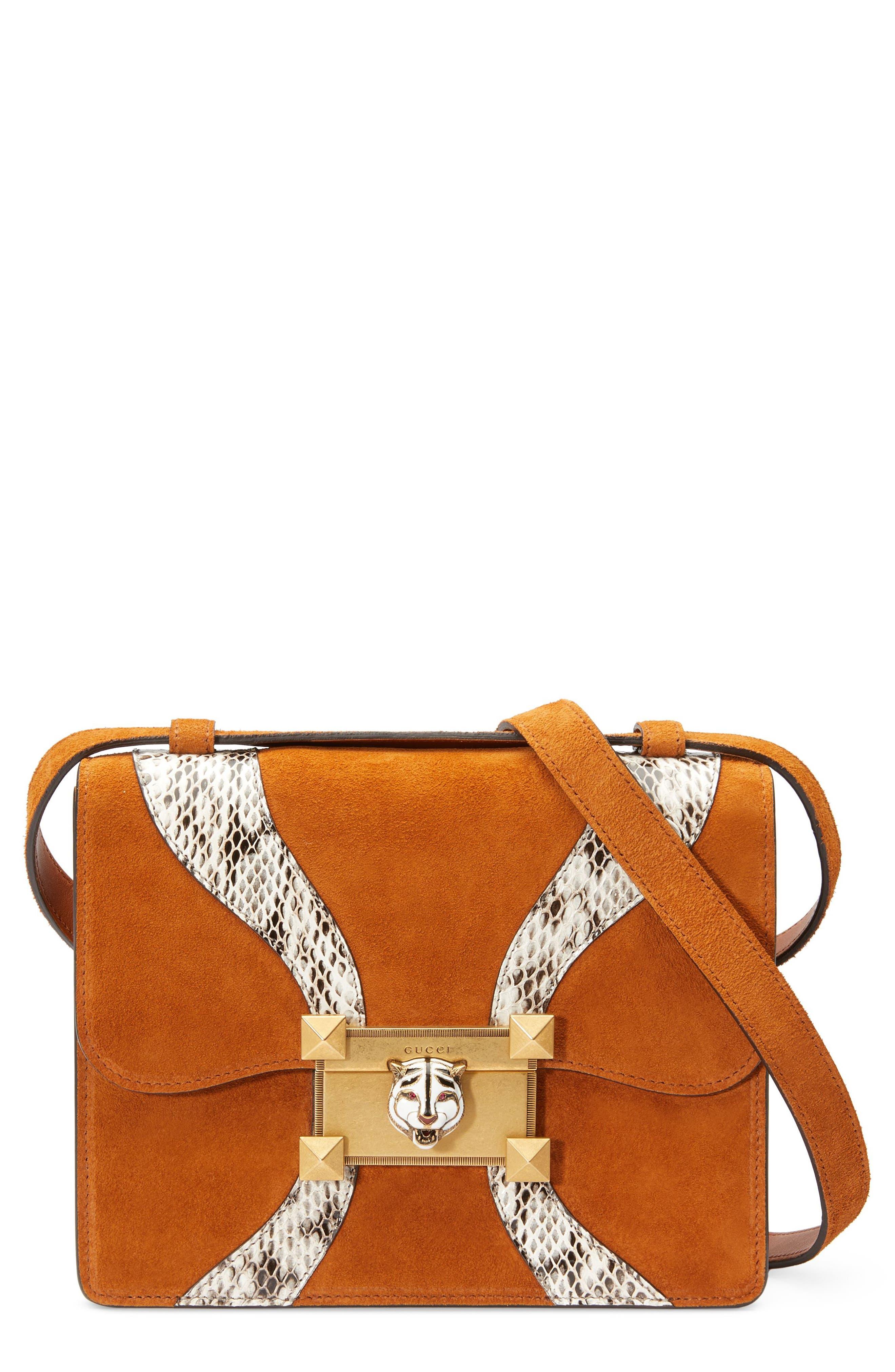 GUCCI Osiride Suede & Genuine Snakeskin Shoulder Bag, Main, color, 209