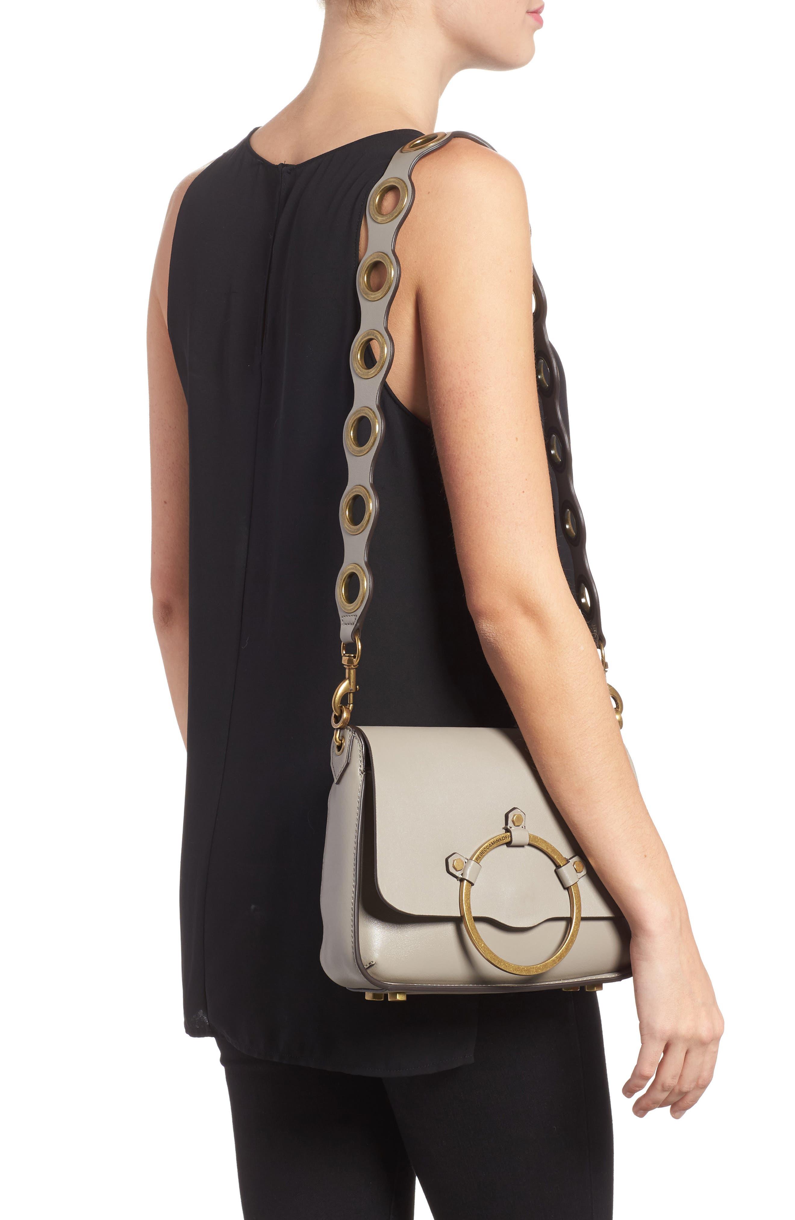 Ring Leather Shoulder Bag,                             Alternate thumbnail 4, color,