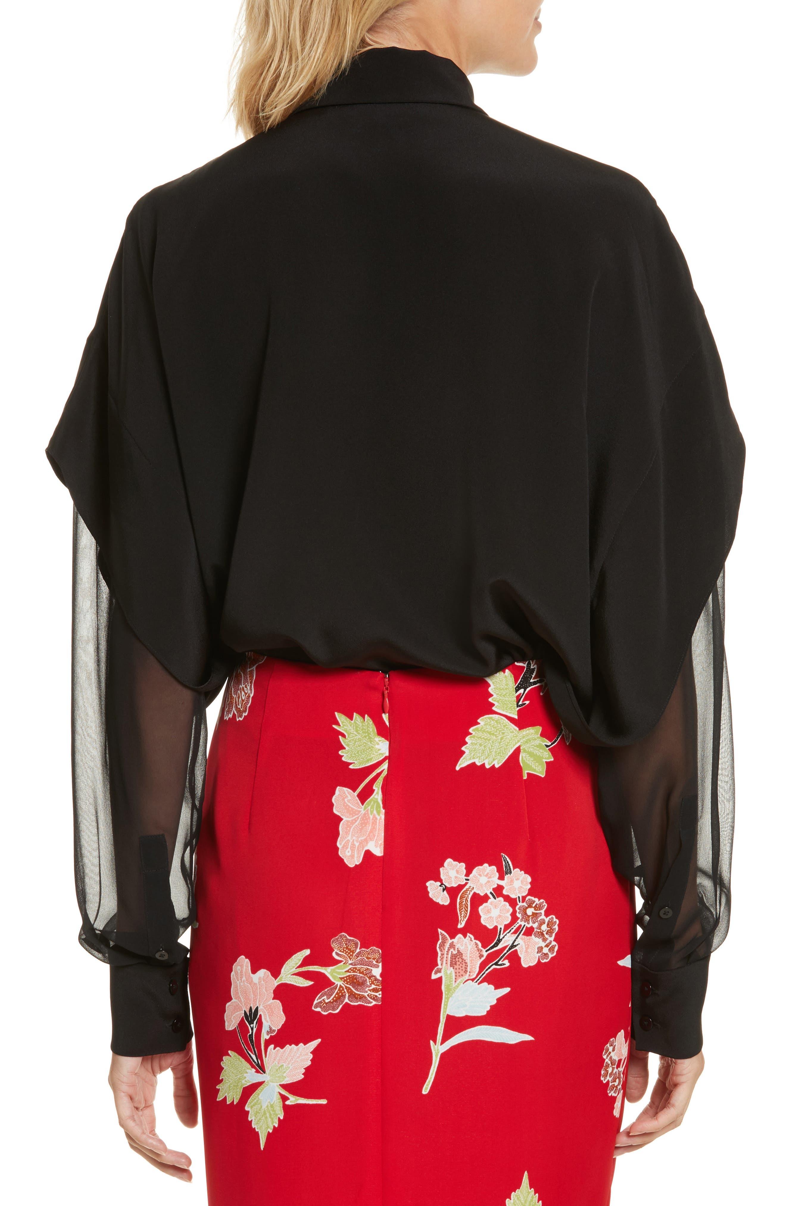 Button-Down Silk Shirt,                             Alternate thumbnail 2, color,