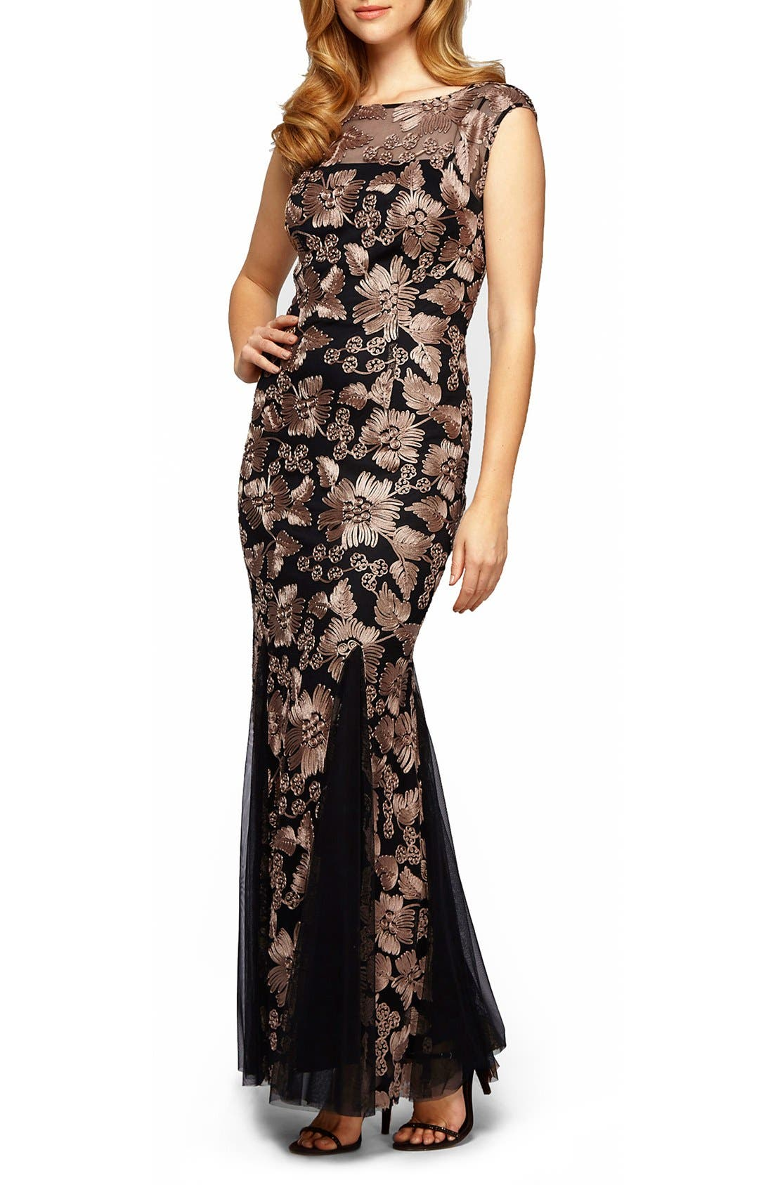 Alex Evenings Tulle Mermaid Gown, Black