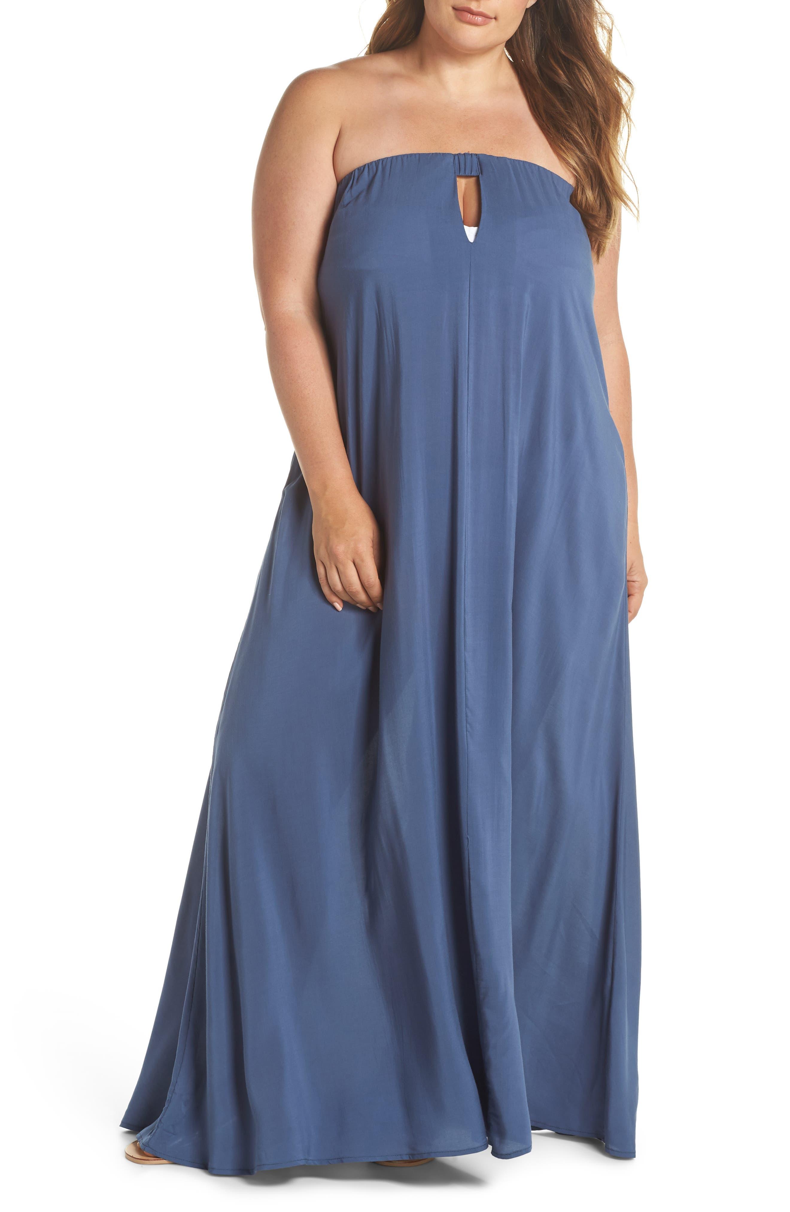 Strapless Keyhole Cover-Up Maxi Dress,                         Main,                         color, INDIGO