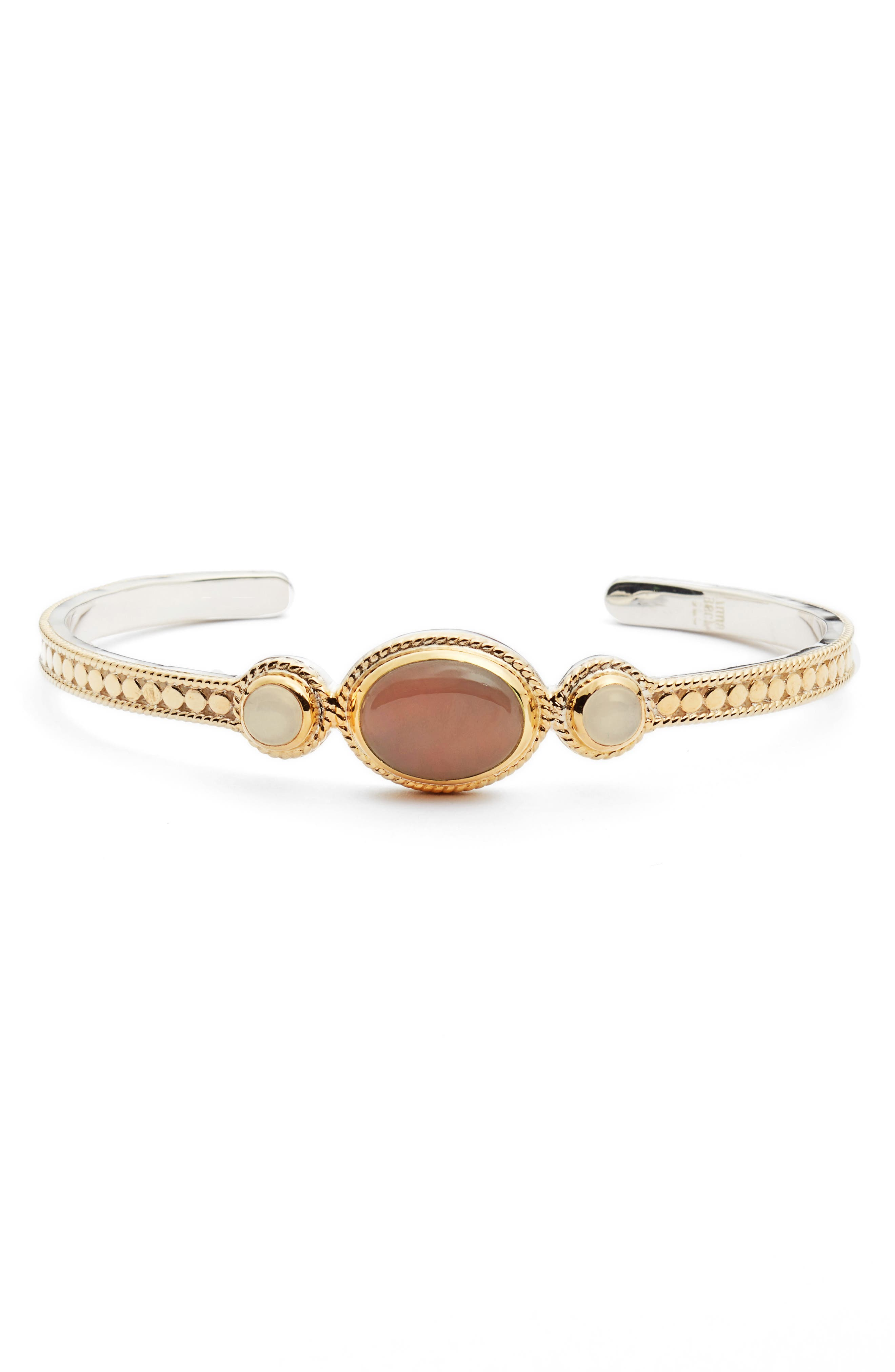 Guava Quartz & Moonstone Cuff Bracelet,                             Main thumbnail 1, color,                             950